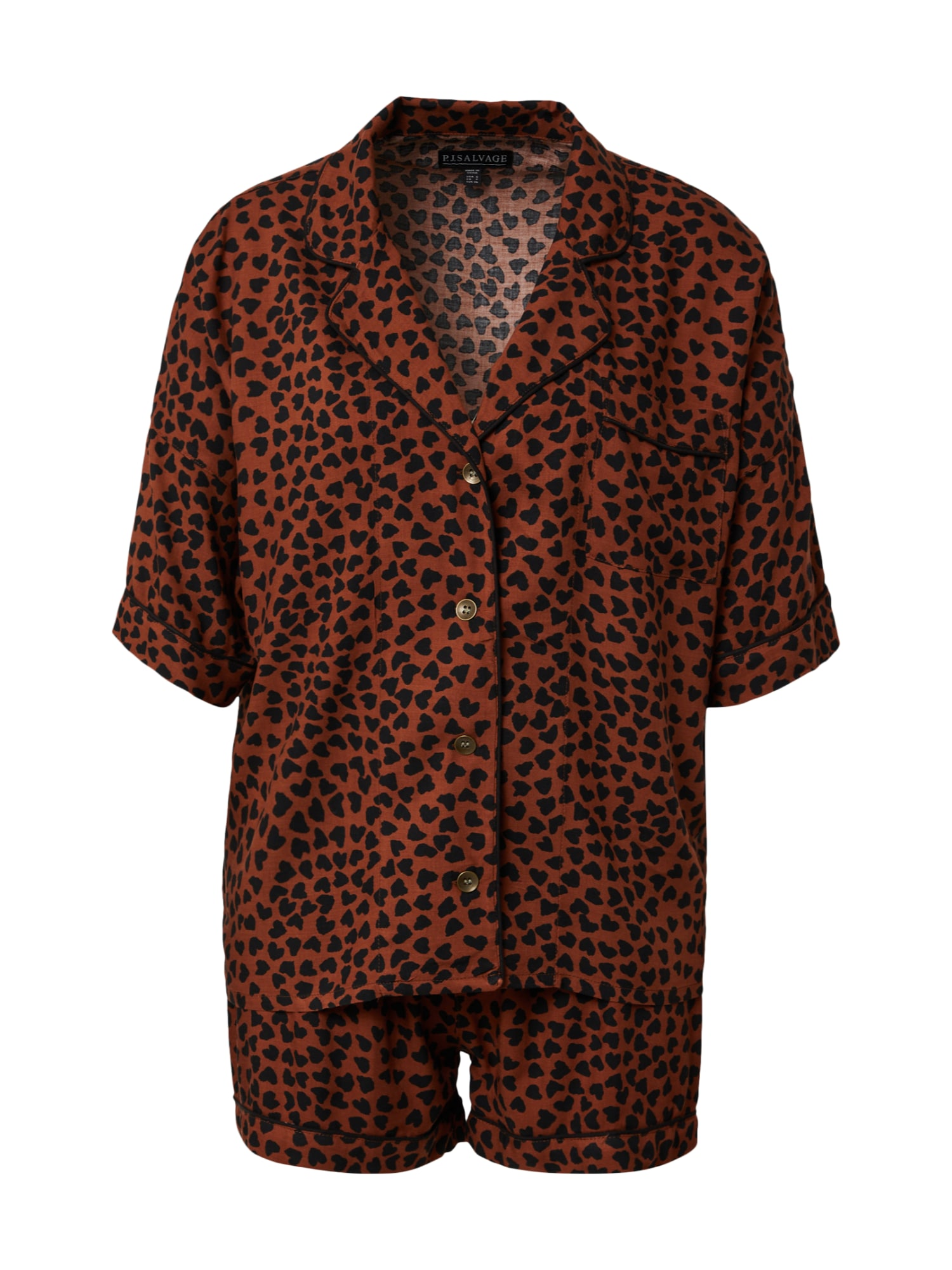 PJ Salvage Pižama su šortais ruda / juoda