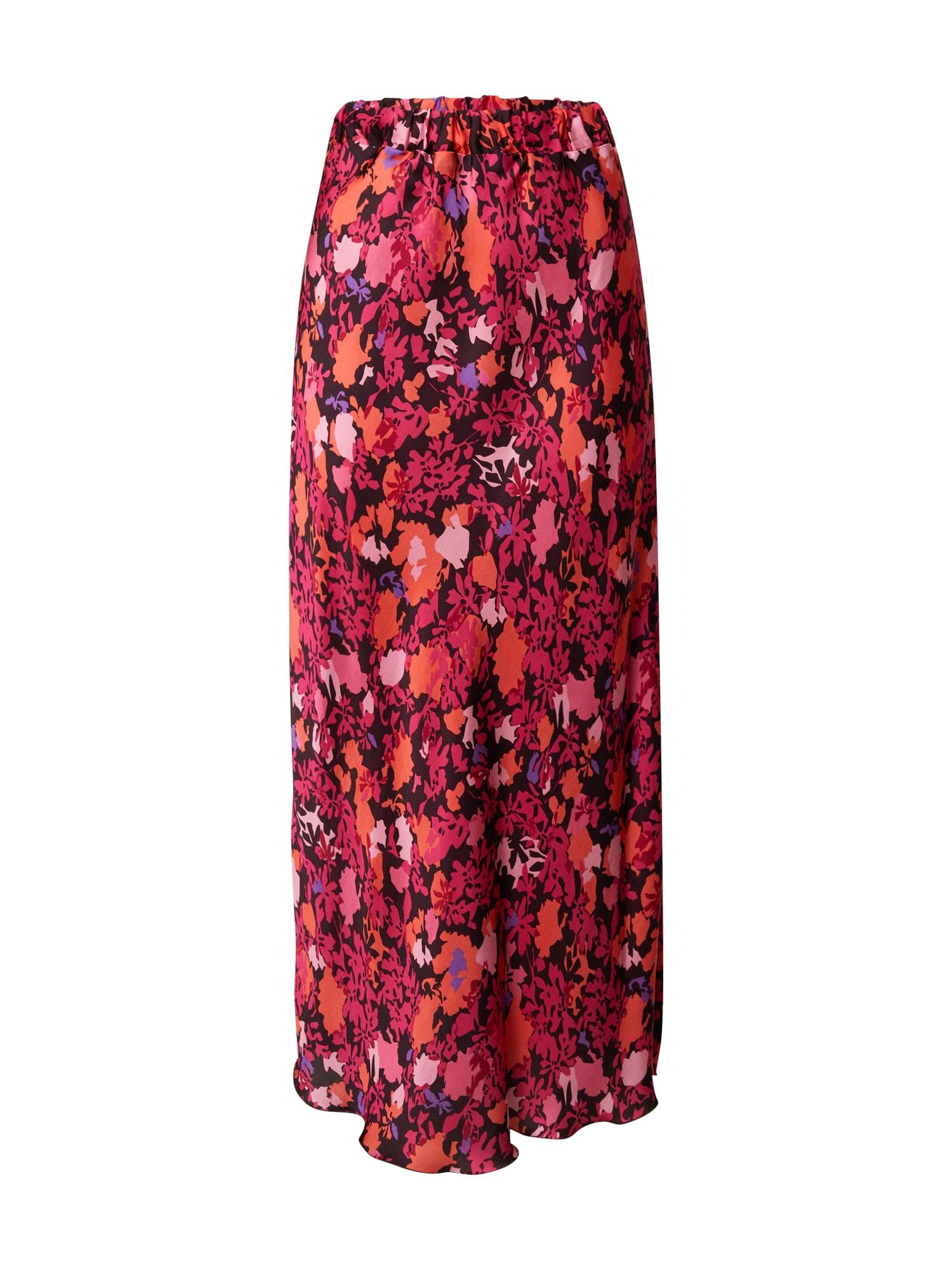 FRNCH PARIS Sijonas rožinė / šviesiai oranžinė / rožių spalva / šviesiai violetinė / juoda