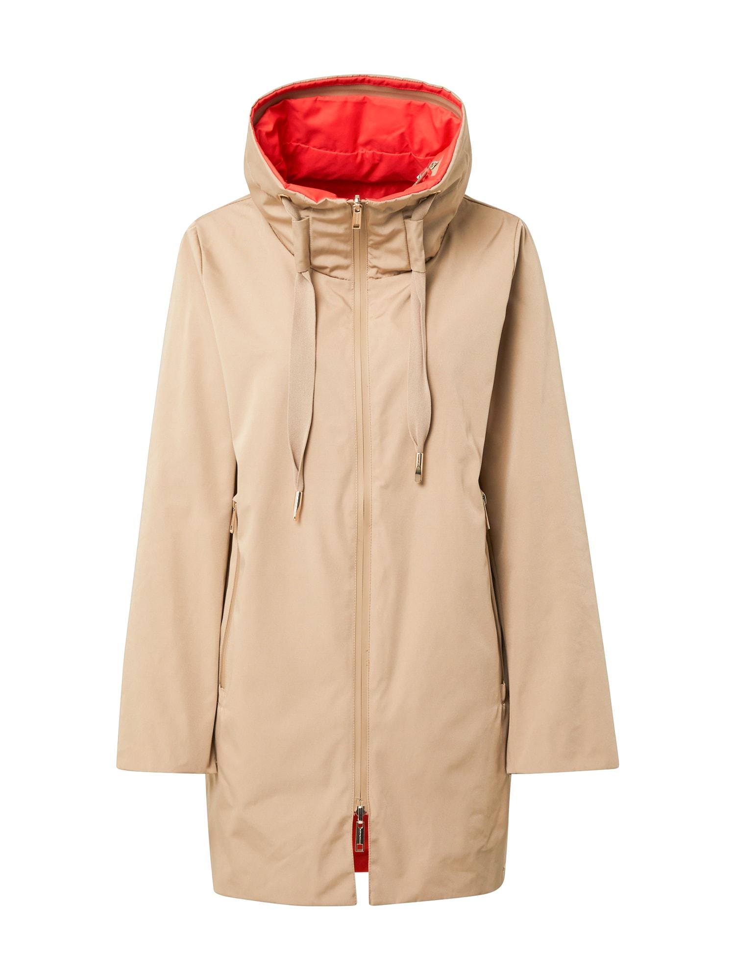 RINO & PELLE Demisezoninis paltas kapučino spalva / oranžinė-raudona