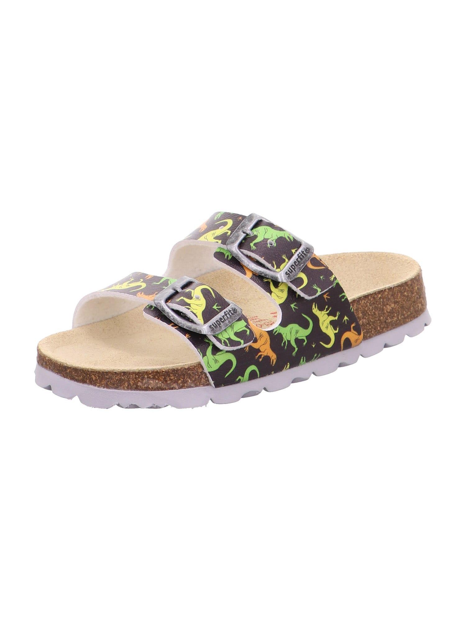 SUPERFIT Atviri batai tamsiai pilka / šviesiai geltona / oranžinė / šviesiai žalia