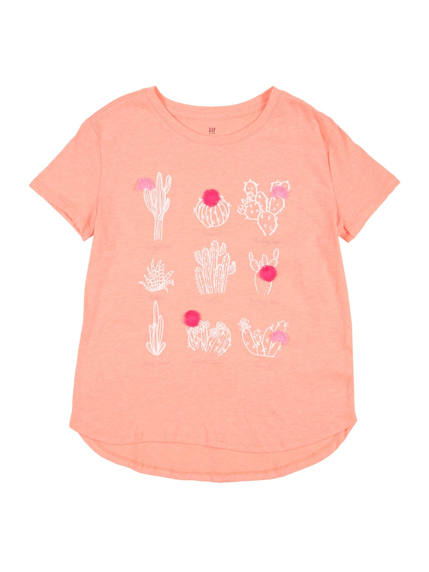 GAP Tričko 'V-MAY'  korálová / bílá / pink