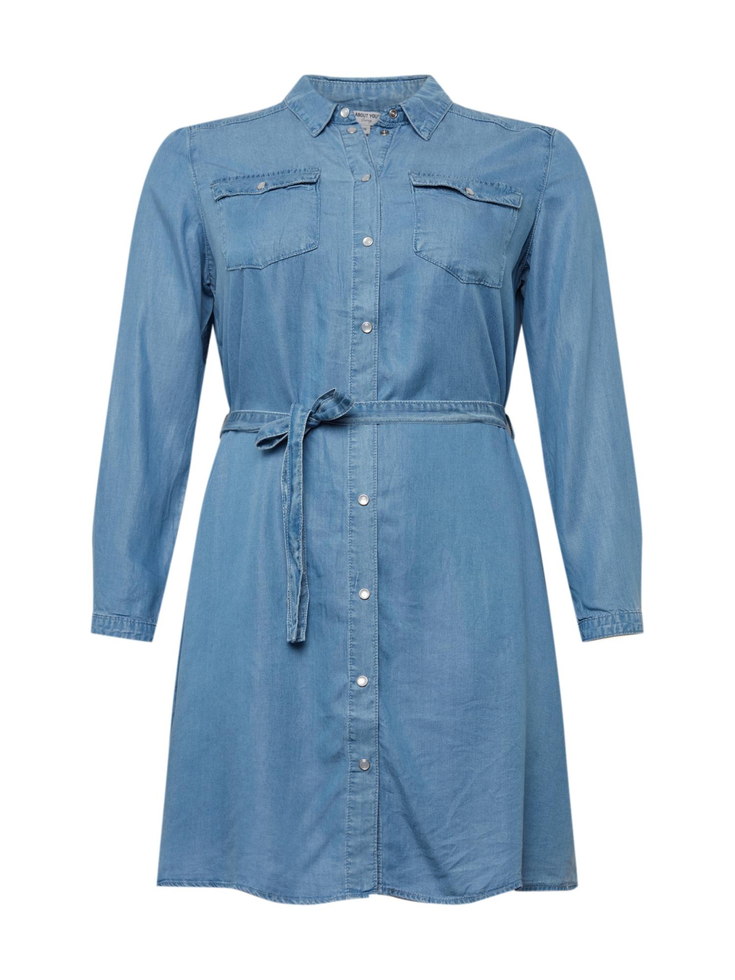 ABOUT YOU Curvy Košilové šaty 'Arabella'  modrá džínovina