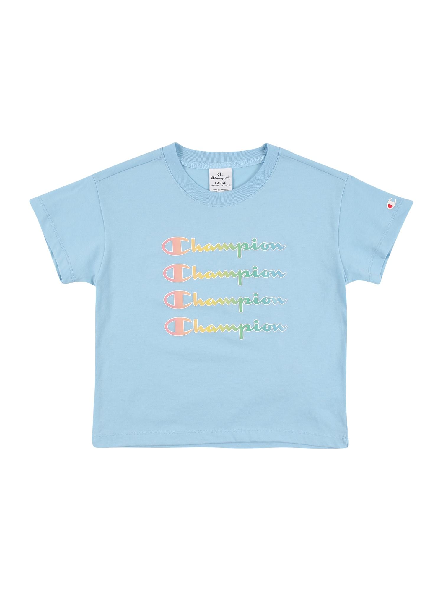 Champion Authentic Athletic Apparel Marškinėliai šviesiai mėlyna / šviesiai žalia / lašišų spalva / balta / oranžinė