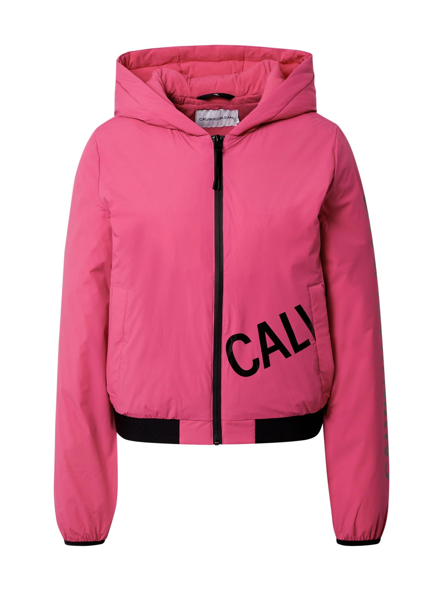 Calvin Klein Jeans Demisezoninė striukė rožinė / juoda