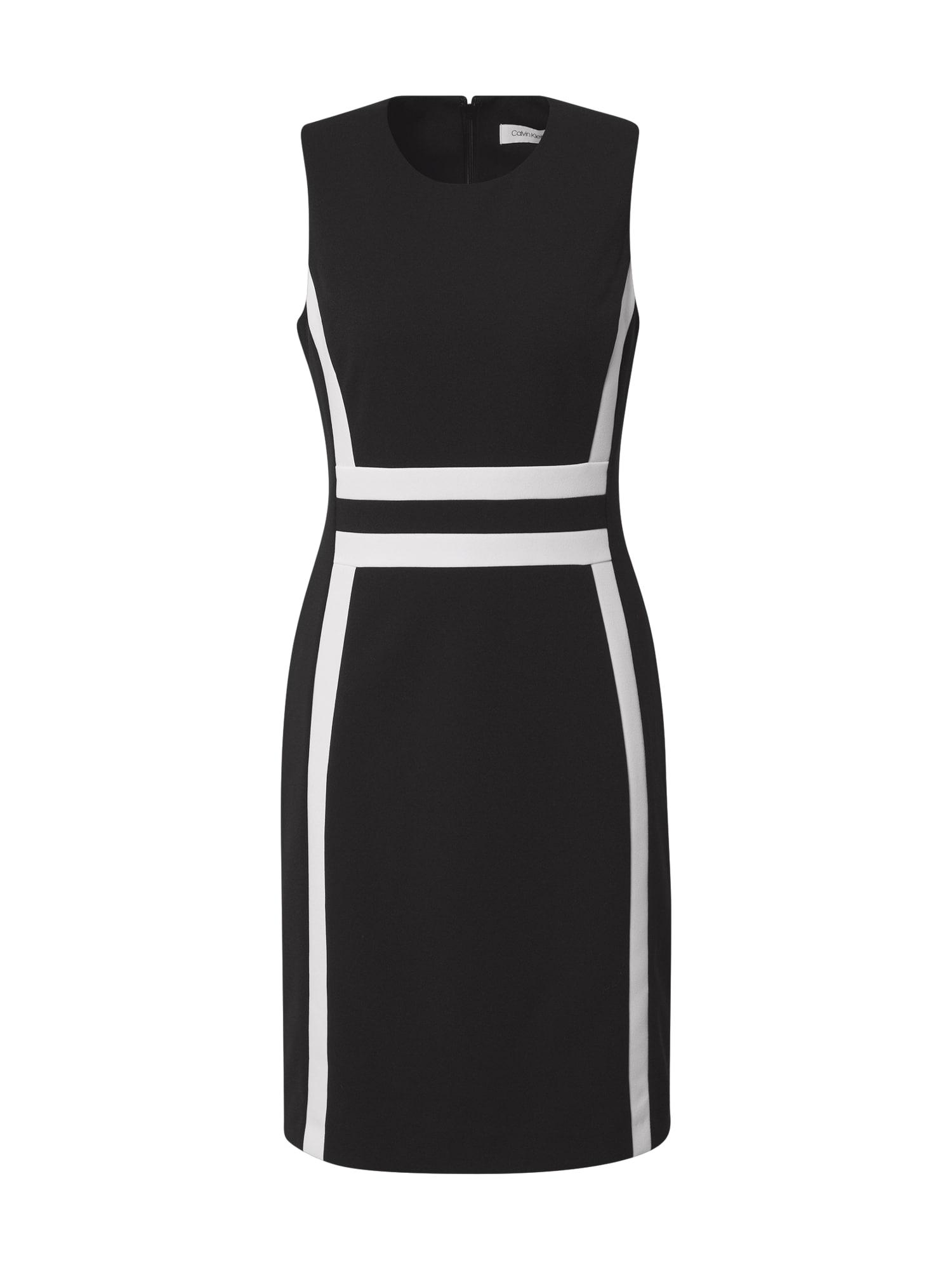 Calvin Klein Trumpa kokteilinė suknelė juoda / balta