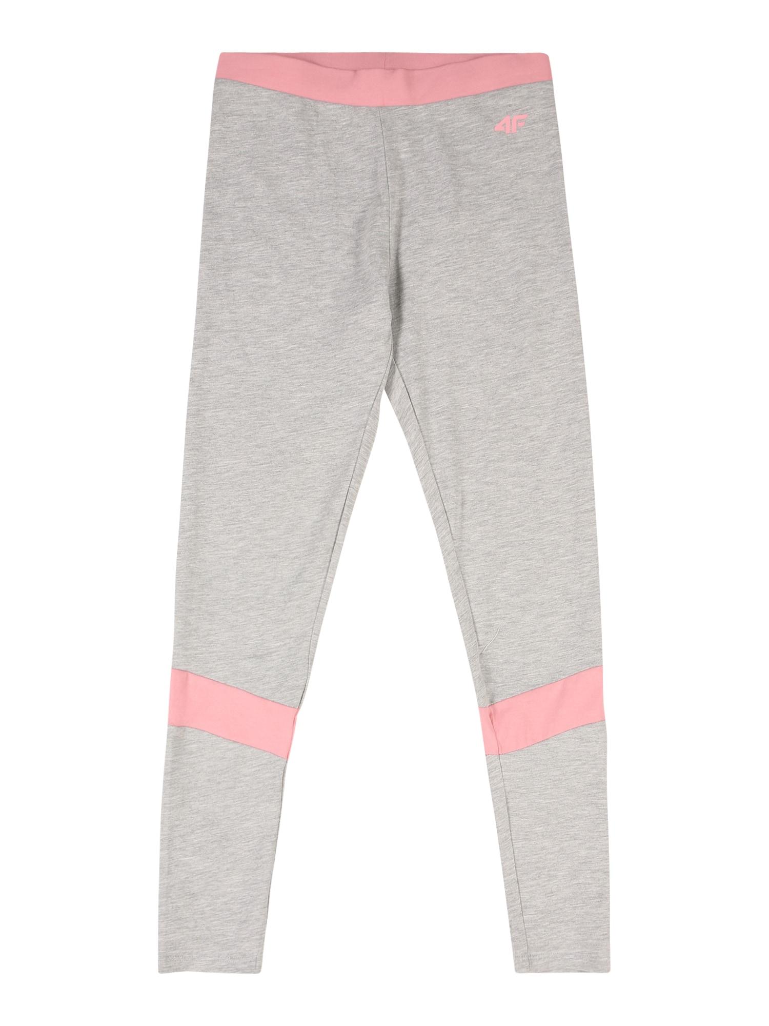 4F Sportovní kalhoty  šedý melír / růže