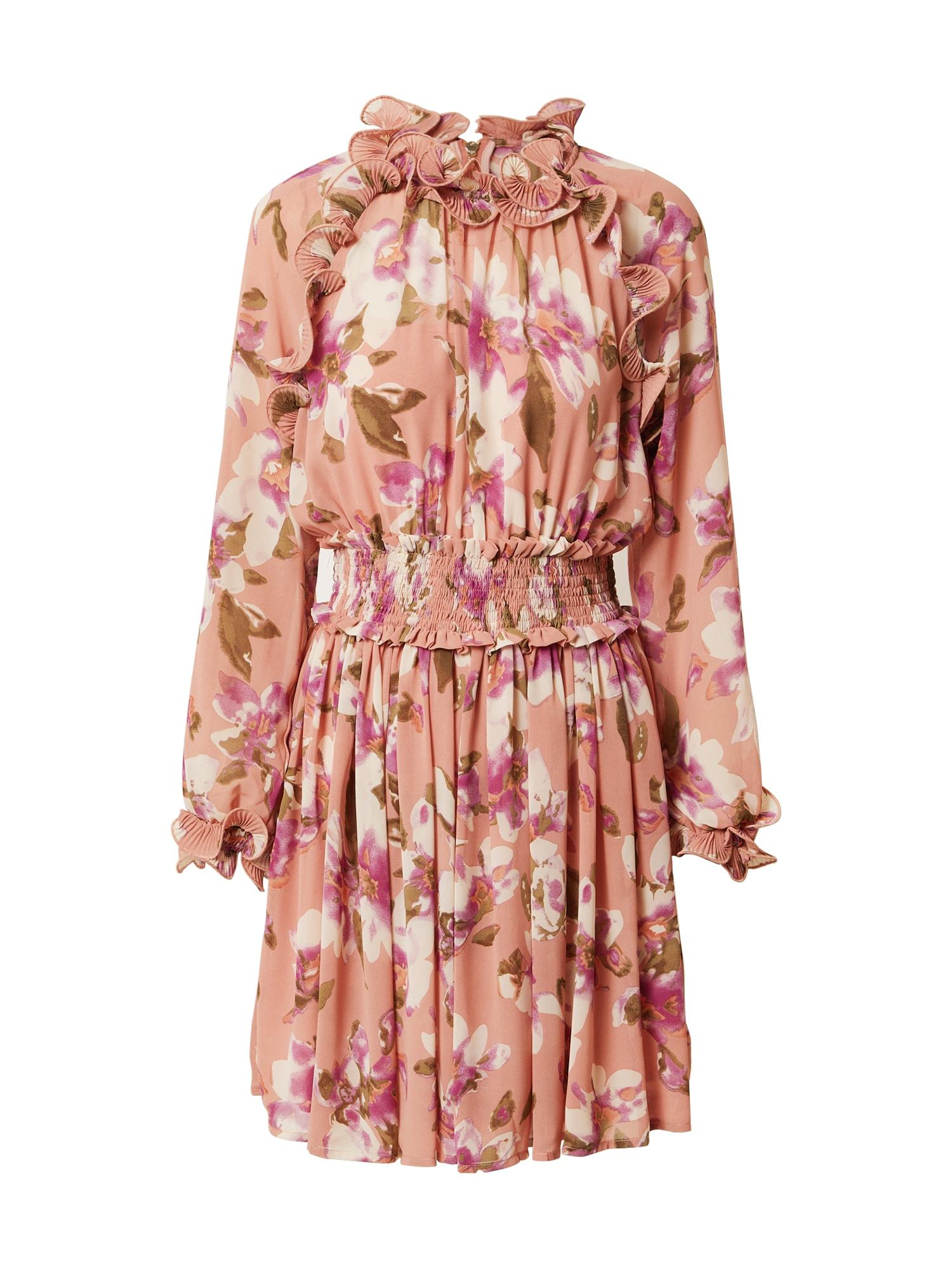Forever Unique Kokteilinė suknelė ryškiai rožinė spalva / purpurinė / natūrali balta / alyvuogių spalva