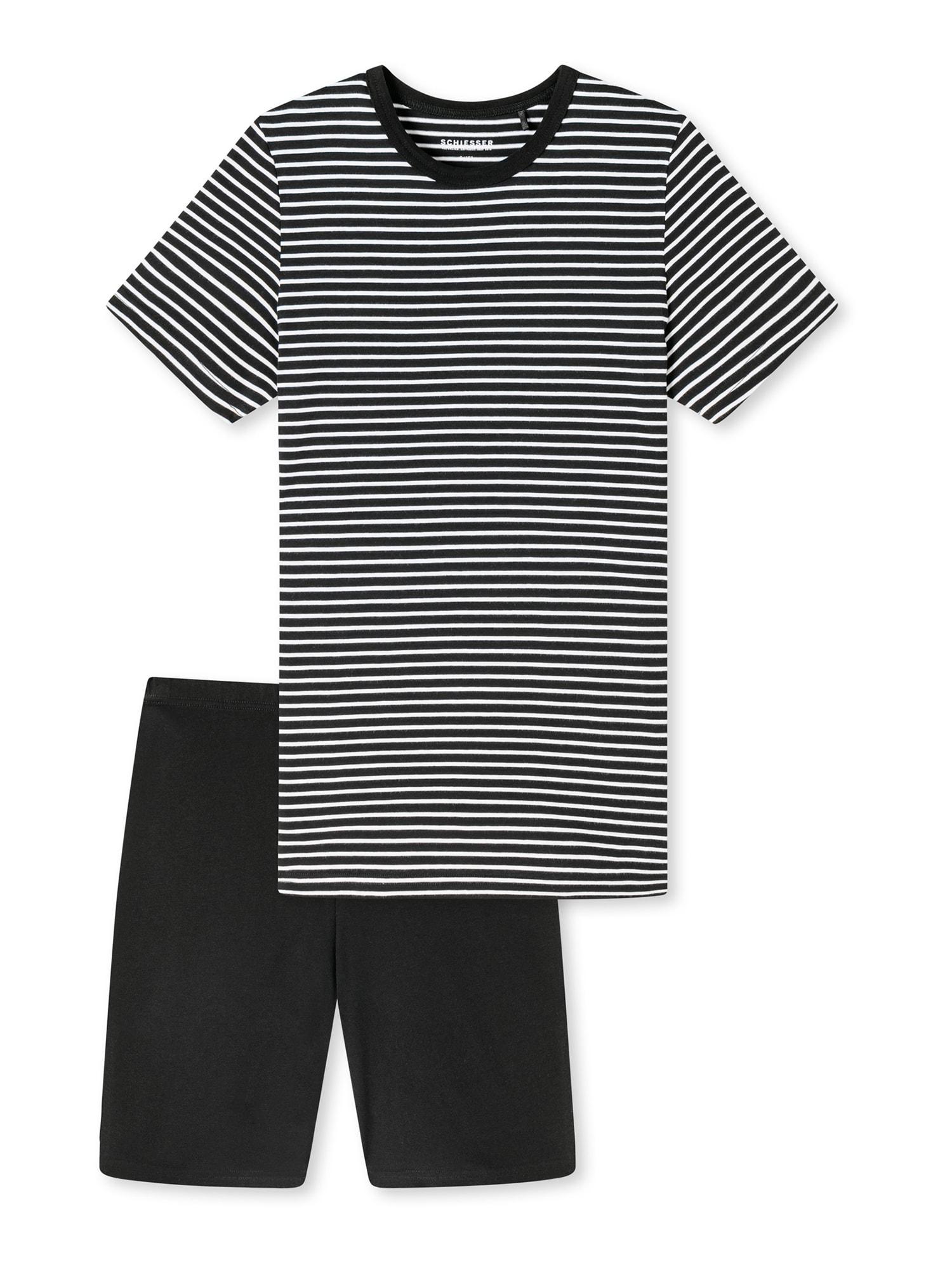 SCHIESSER Pyžamo ' Basic Kids '  černá / bílá