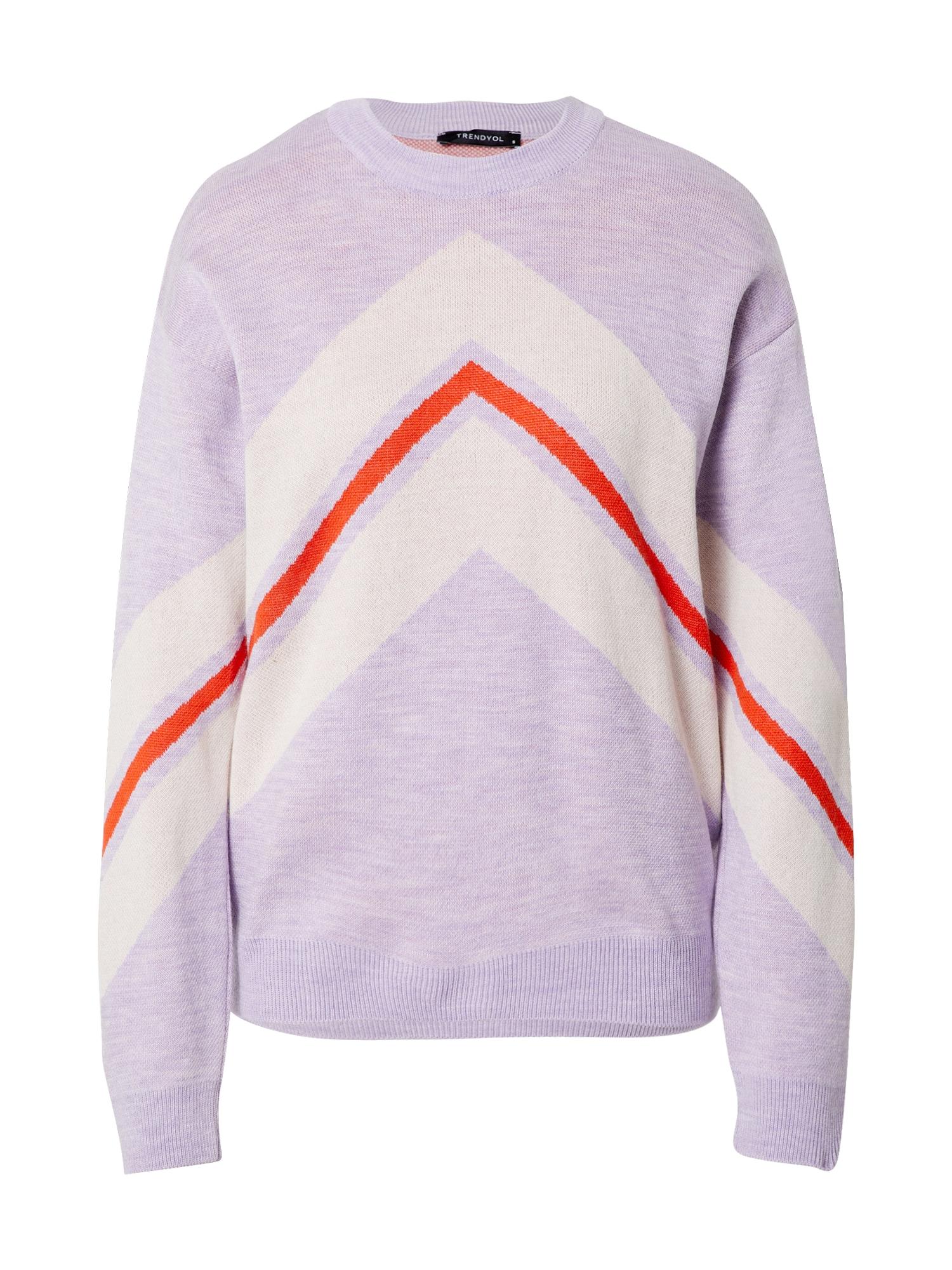Trendyol Megztinis purpurinė / balta / raudona