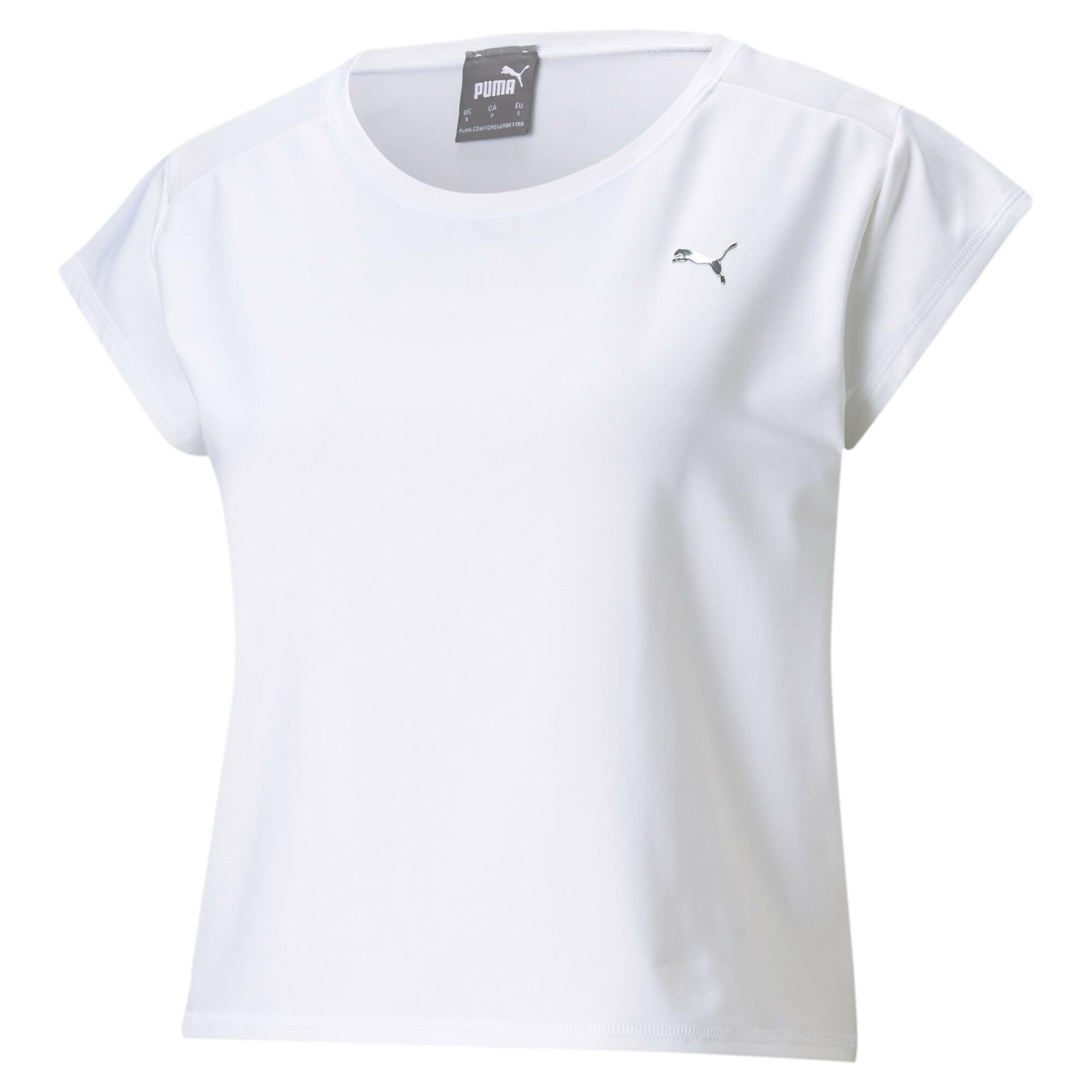 PUMA Sportiniai marškinėliai balta / tamsiai pilka