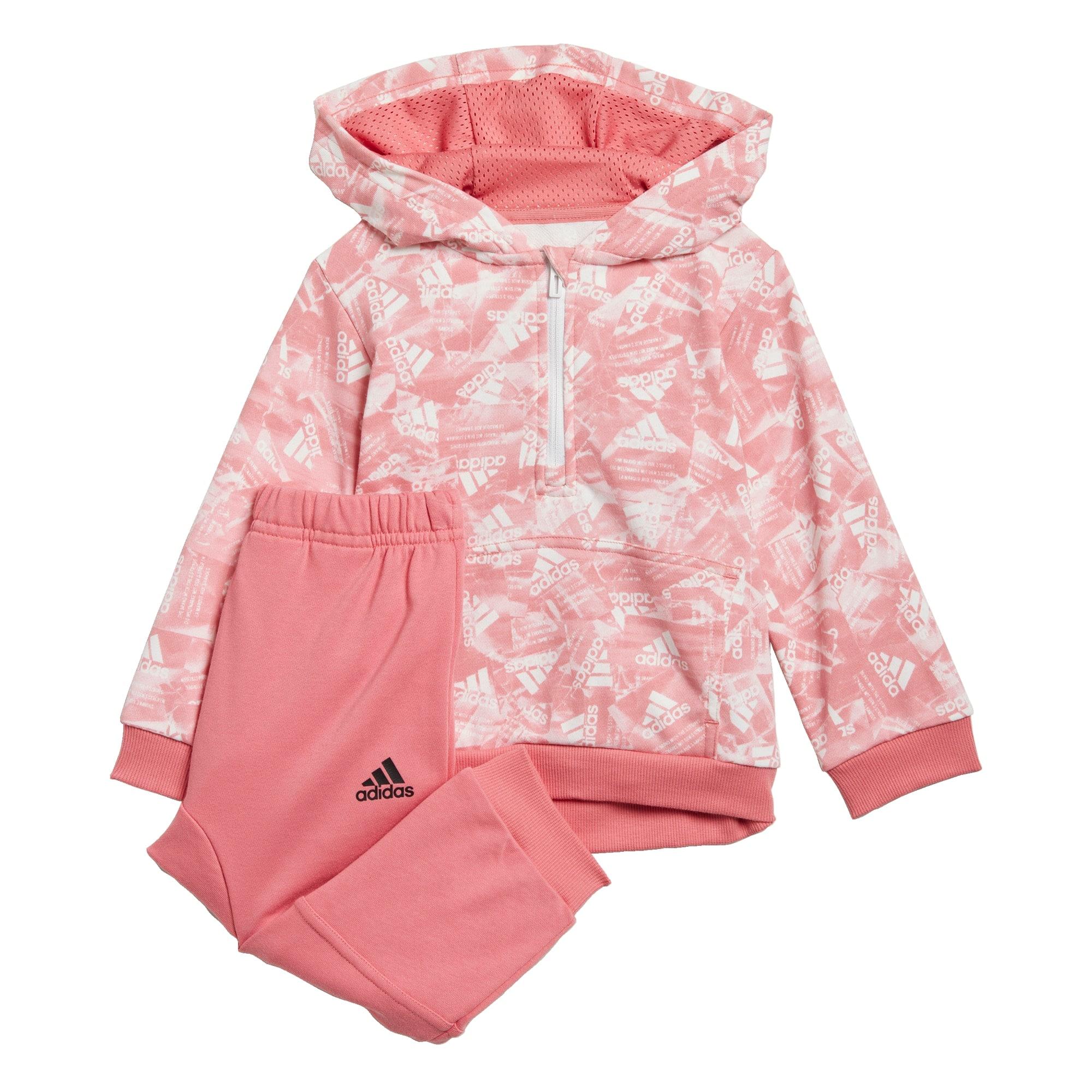 ADIDAS PERFORMANCE Treniruočių kostiumas ryškiai rožinė spalva / balta / juoda