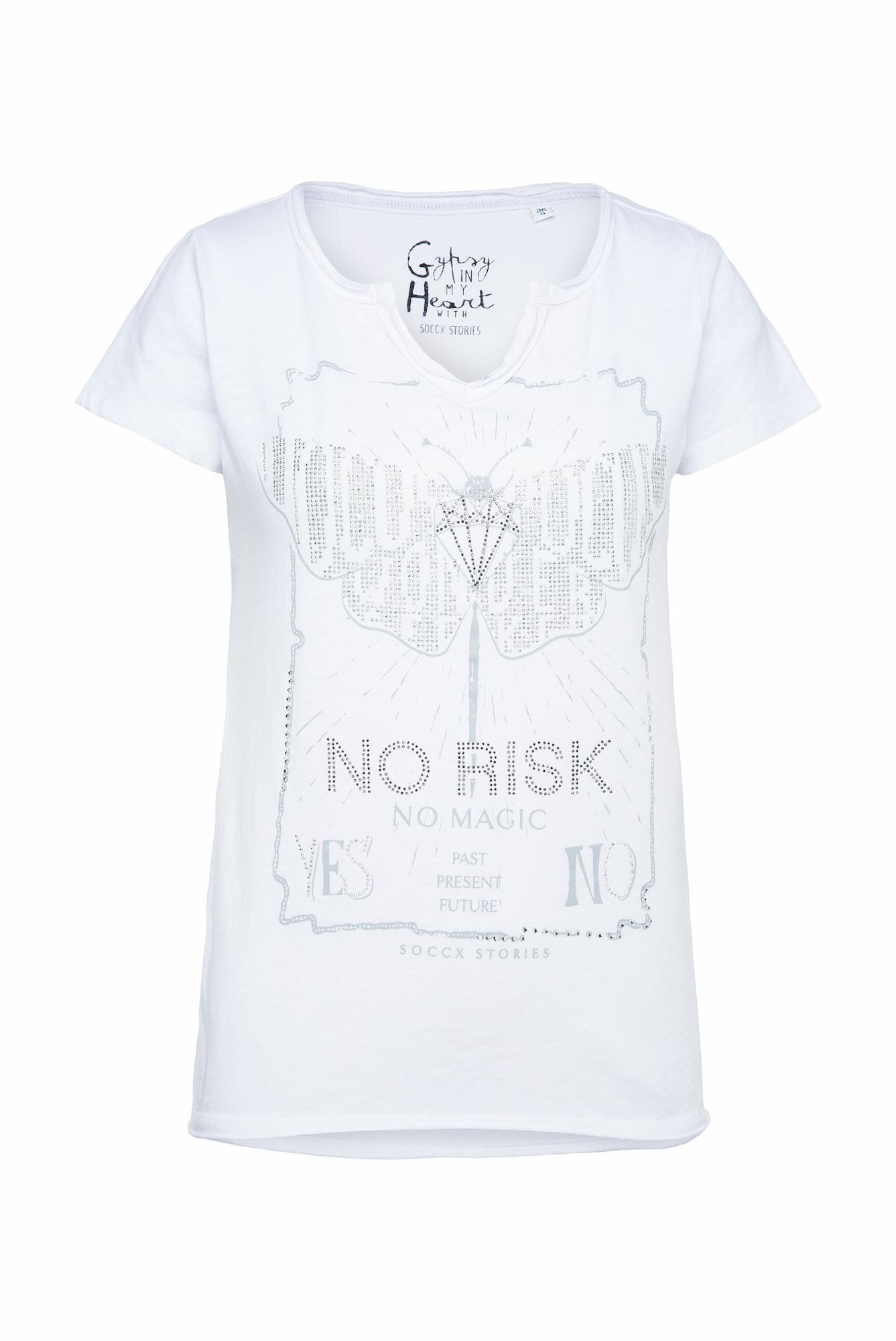 Soccx Marškinėliai balta / sidabrinė / pilka