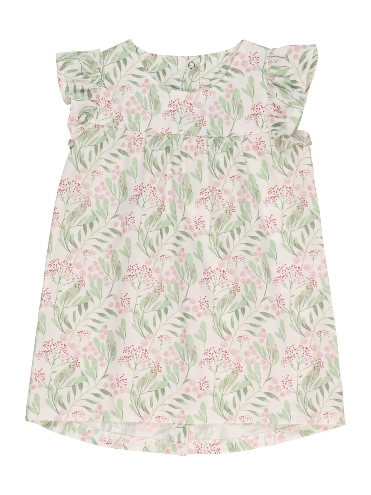 KANZ Suknelė balta / šviesiai žalia / rožių spalva