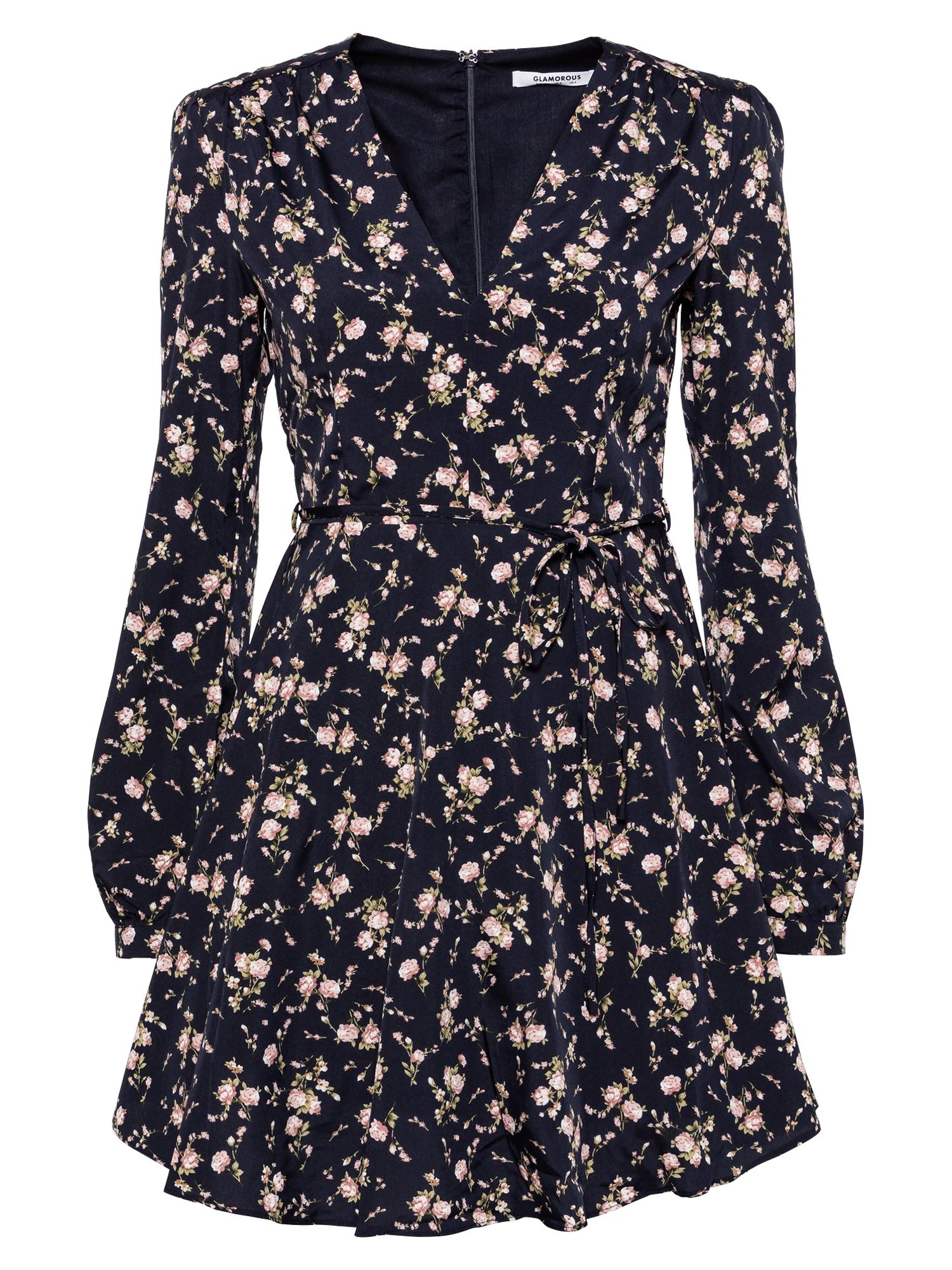 GLAMOROUS Kokteilinė suknelė tamsiai mėlyna / rožių spalva / alyvuogių spalva