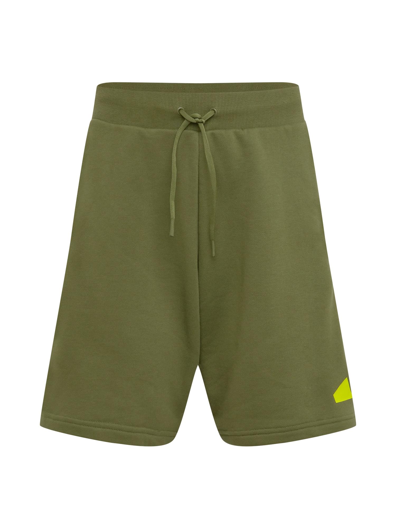 ADIDAS PERFORMANCE Sportinės kelnės alyvuogių spalva / neoninė geltona