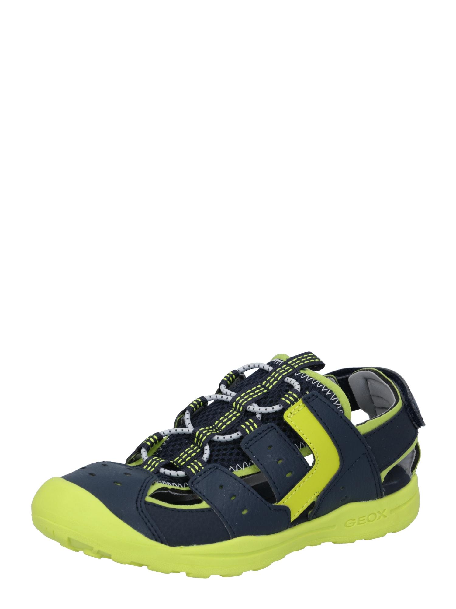 GEOX Kids Atviri batai tamsiai mėlyna / neoninė geltona