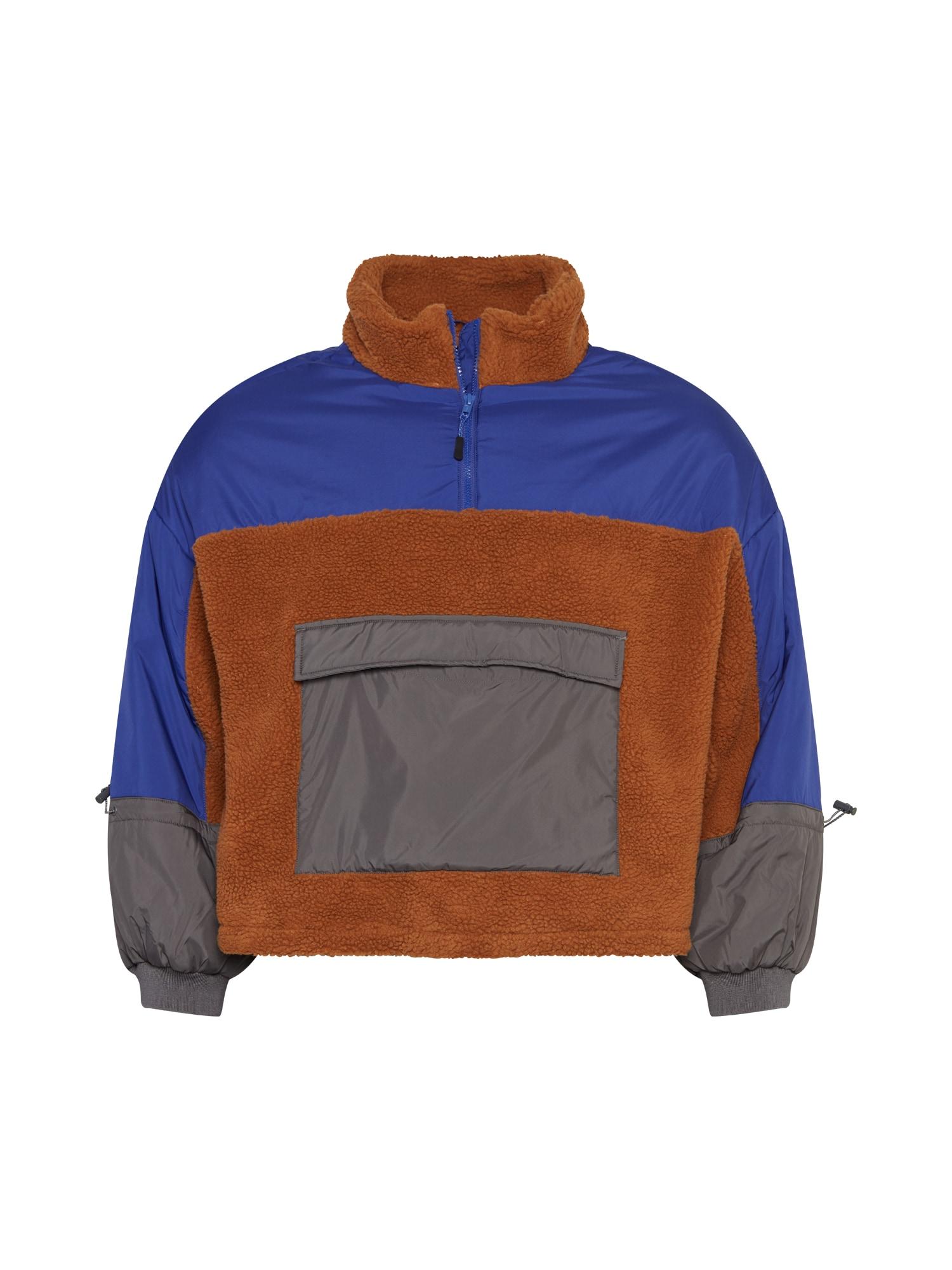 Urban Classics Curvy Demisezoninė striukė neoninė mėlyna / karamelės / tamsiai pilka