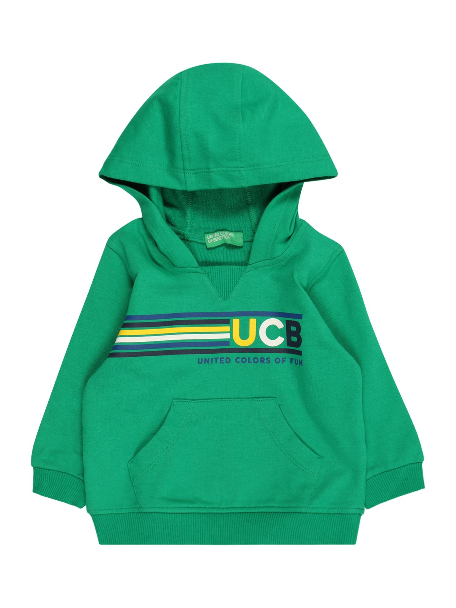 UNITED COLORS OF BENETTON Megztinis be užsegimo žalia / balta / geltona / juoda / tamsiai mėlyna