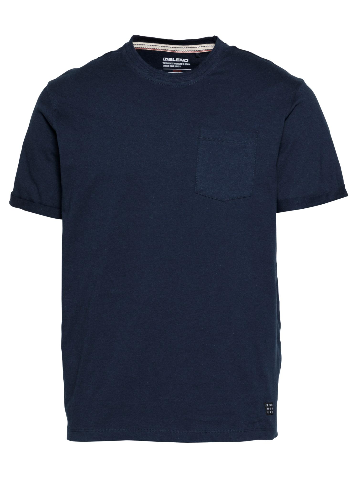 BLEND Marškinėliai tamsiai mėlyna / juoda / balta