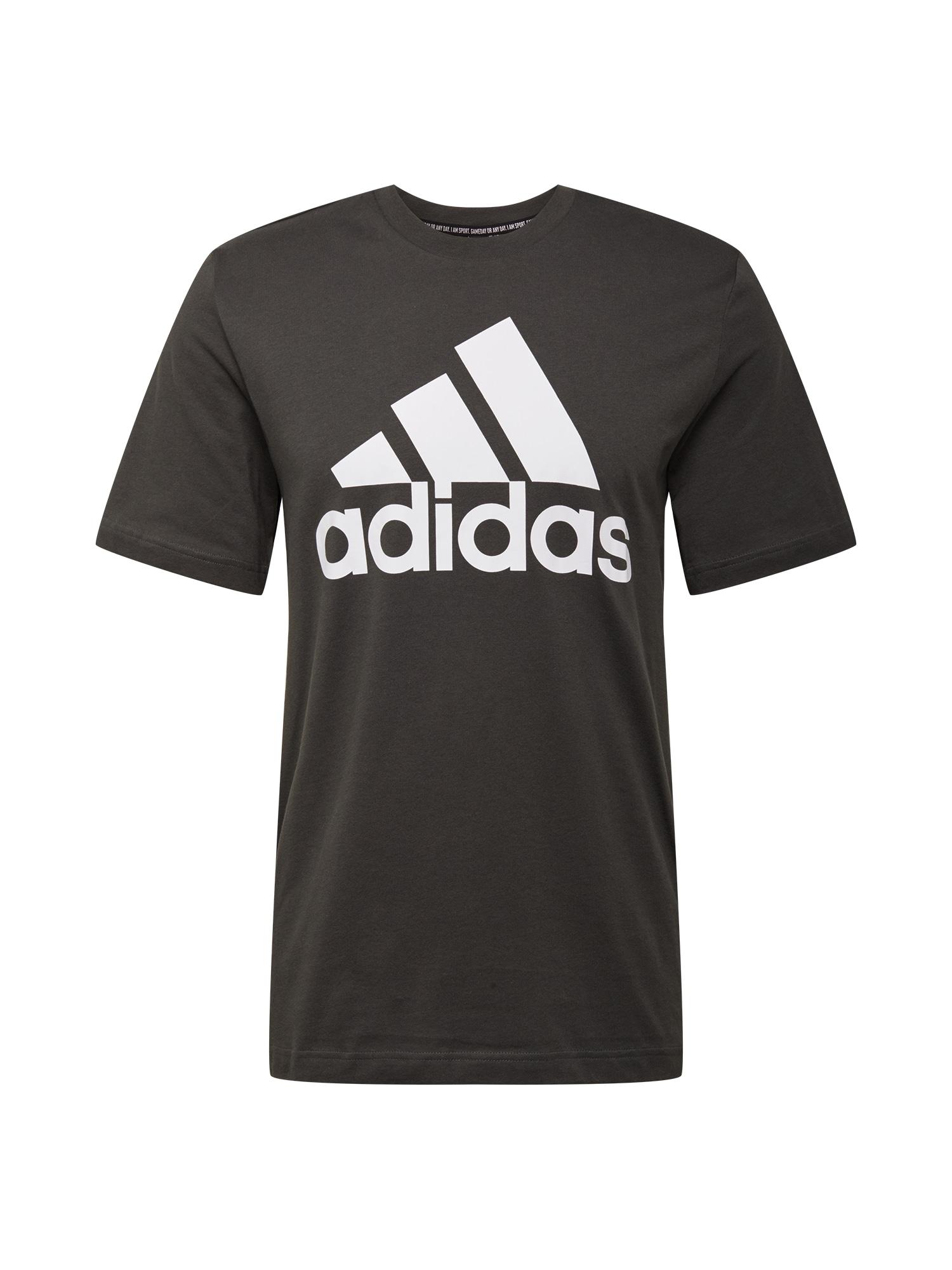ADIDAS PERFORMANCE Sportiniai marškinėliai balta / tamsiai žalia