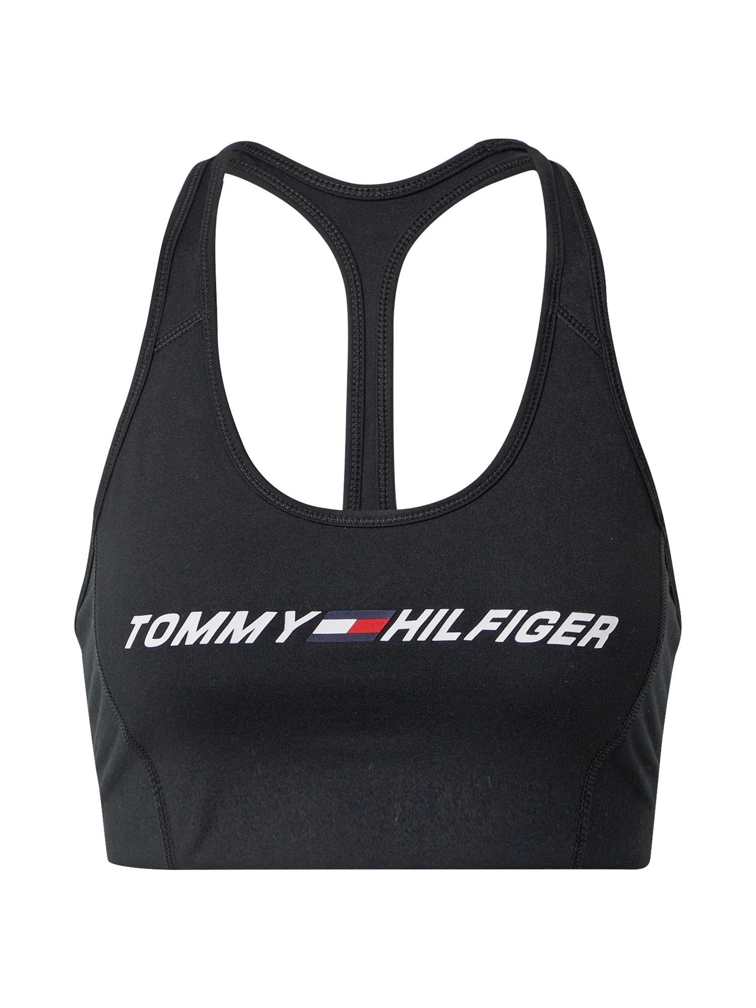 Tommy Sport Sportinė liemenėlė juoda / tamsiai mėlyna / balta / raudona