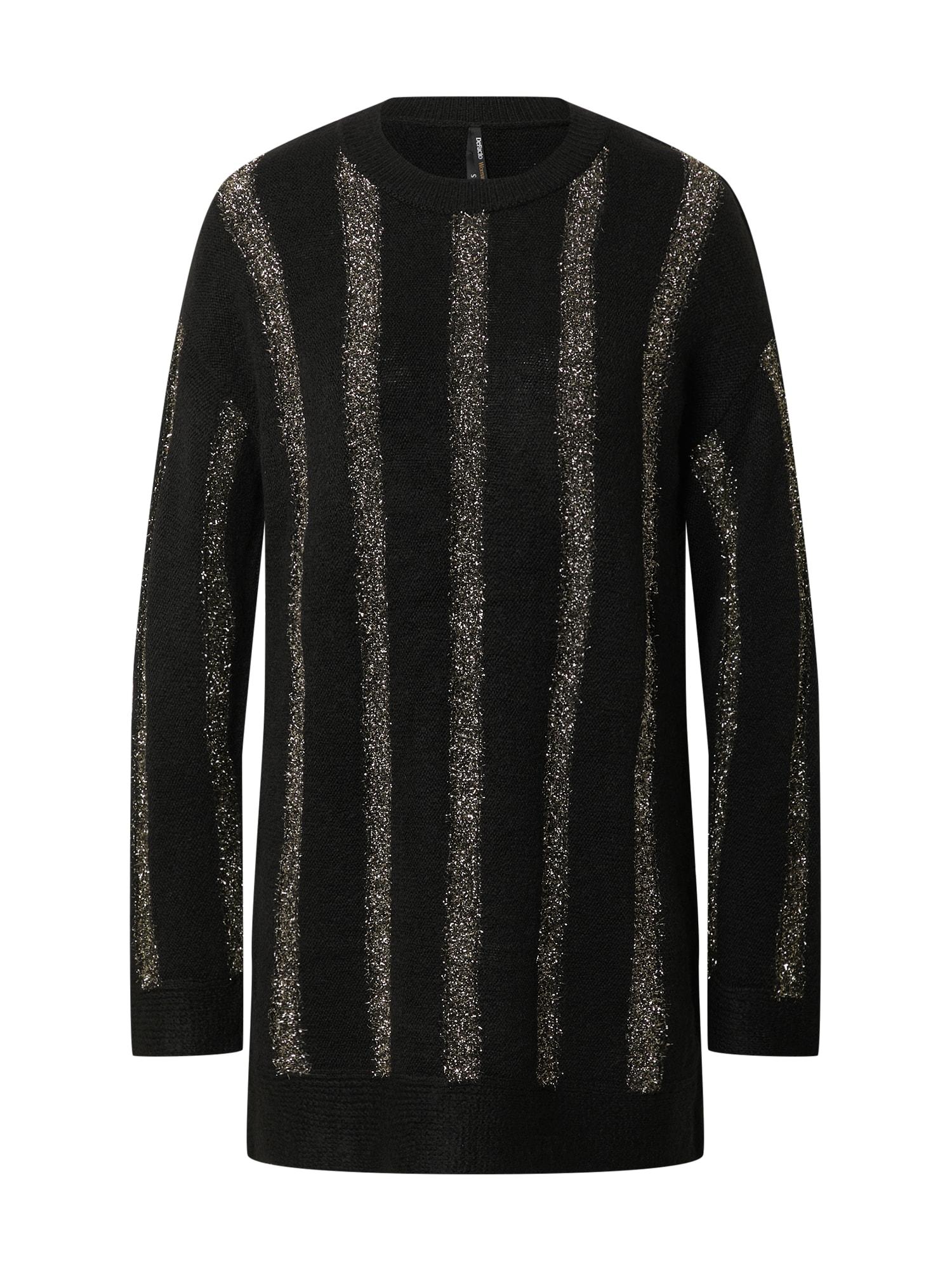 DeFacto Laisvas megztinis juoda / auksas