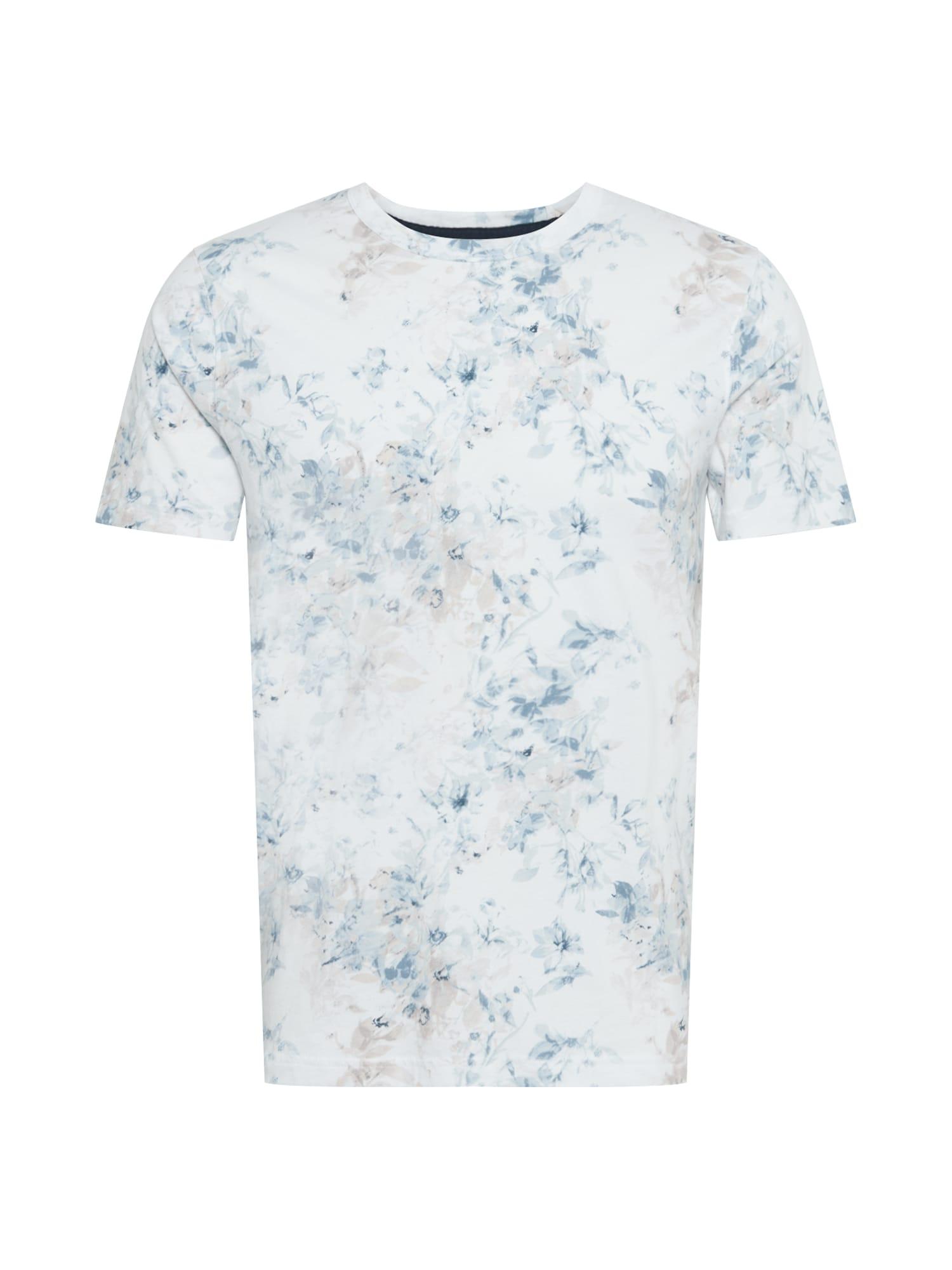 Abercrombie & Fitch Marškinėliai balta / mėlyna dūmų spalva / azuro / smėlio