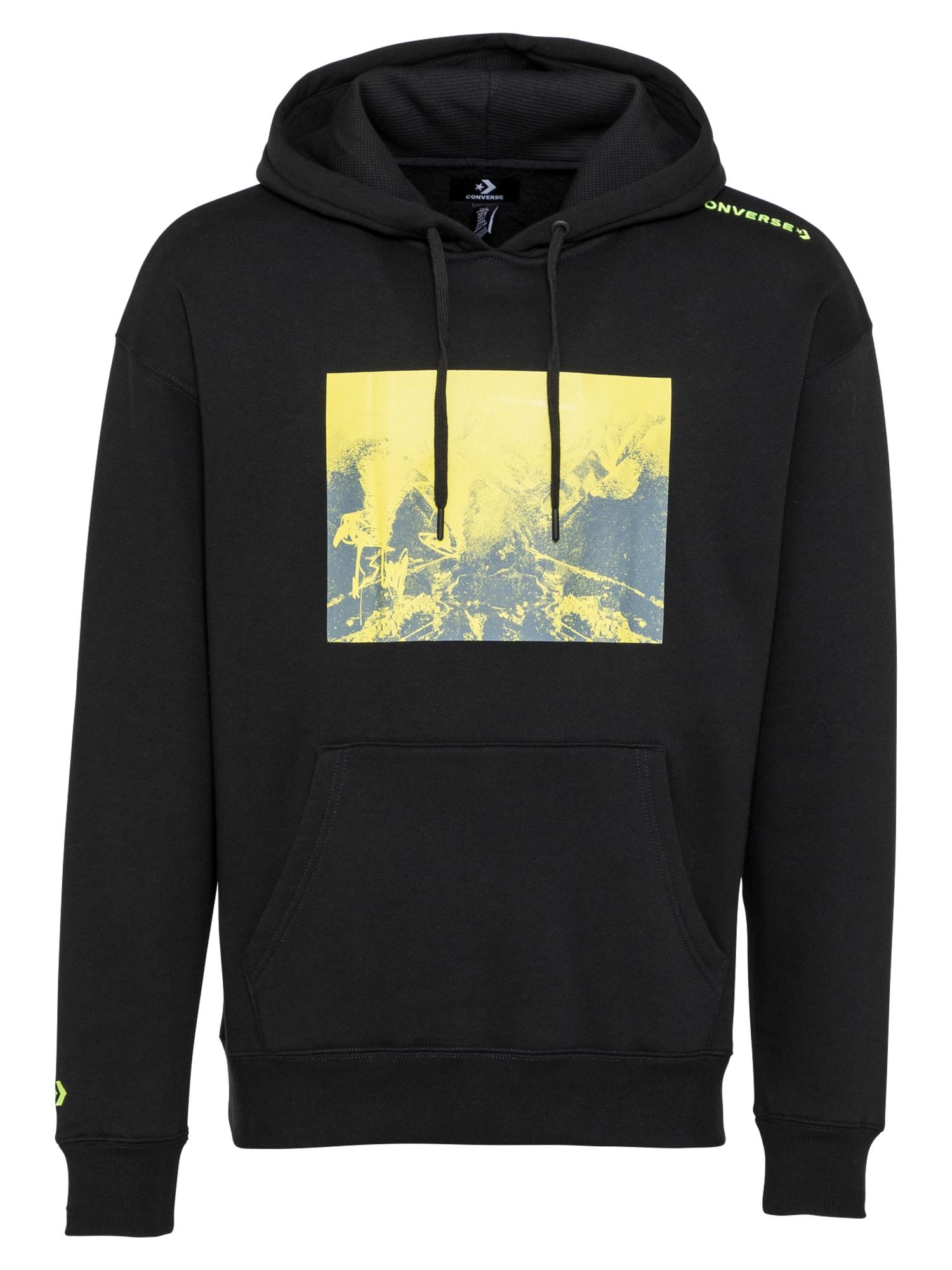 CONVERSE Megztinis be užsegimo juoda / geltona