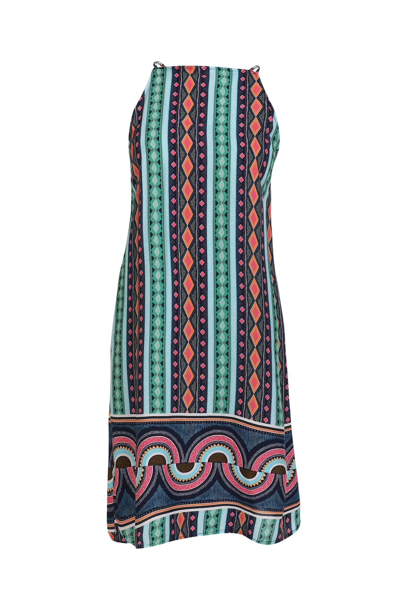 MYMO Vasarinė suknelė nefrito spalva / juoda / raudona / oranžinė