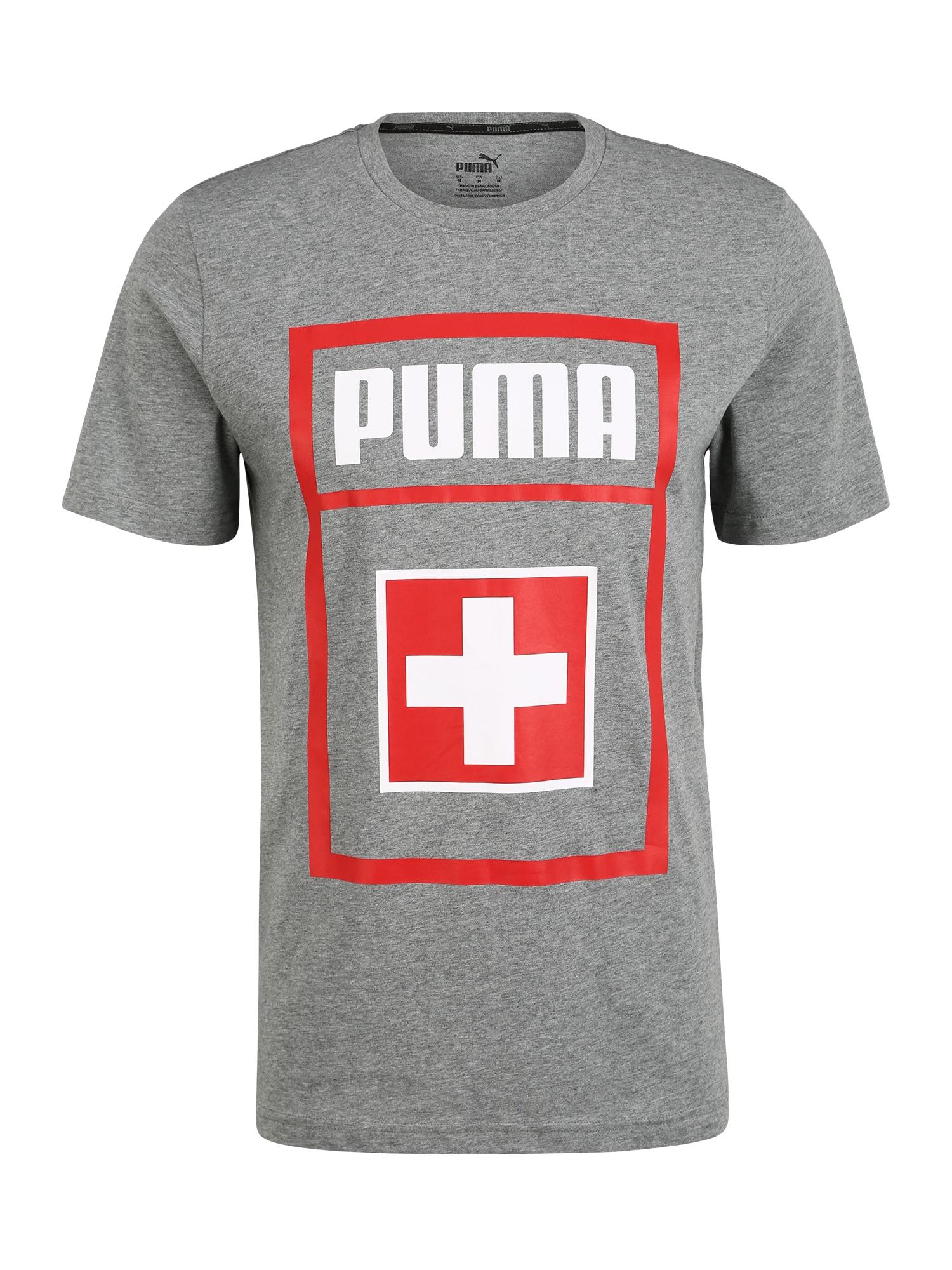 PUMA Funkční tričko  šedá / světle červená