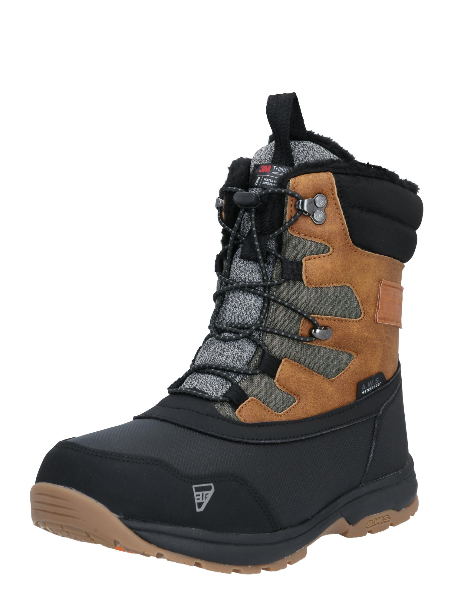 ICEPEAK Auliniai batai ruda / juoda / margai pilka