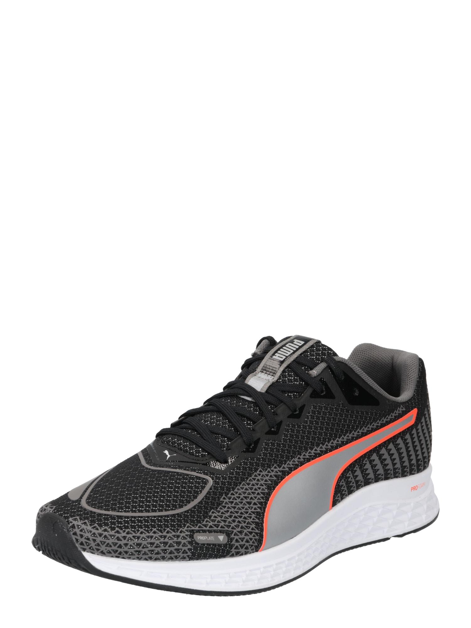 PUMA Bėgimo batai juoda / pilka / oranžinė