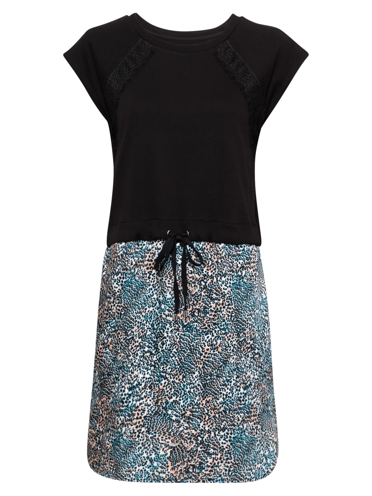 DKNY Suknelė juoda / turkio spalva / šviesiai ruda / balta