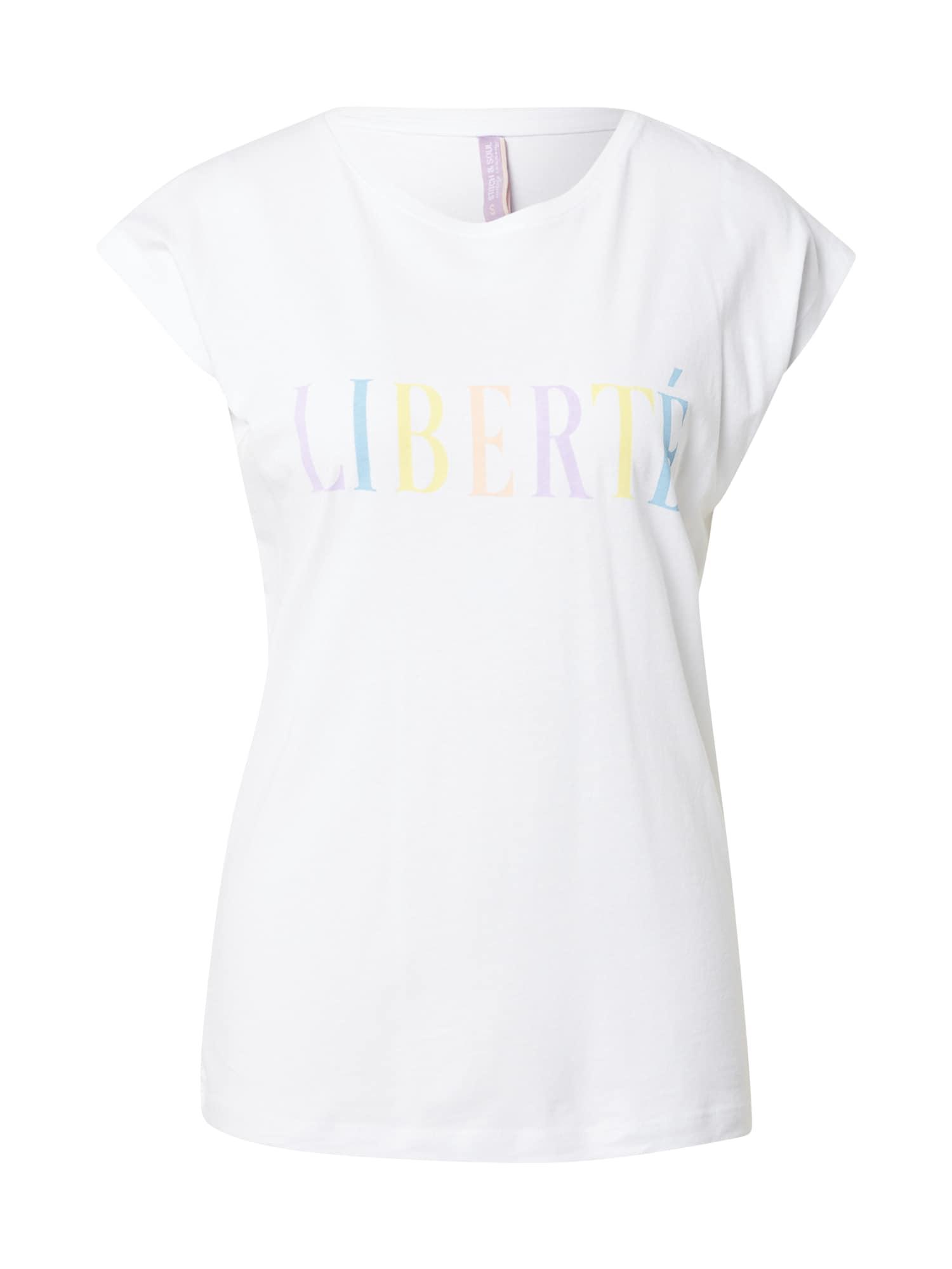 Stitch and Soul Marškinėliai balta / geltona / rausvai violetinė spalva / persikų spalva / mėlyna