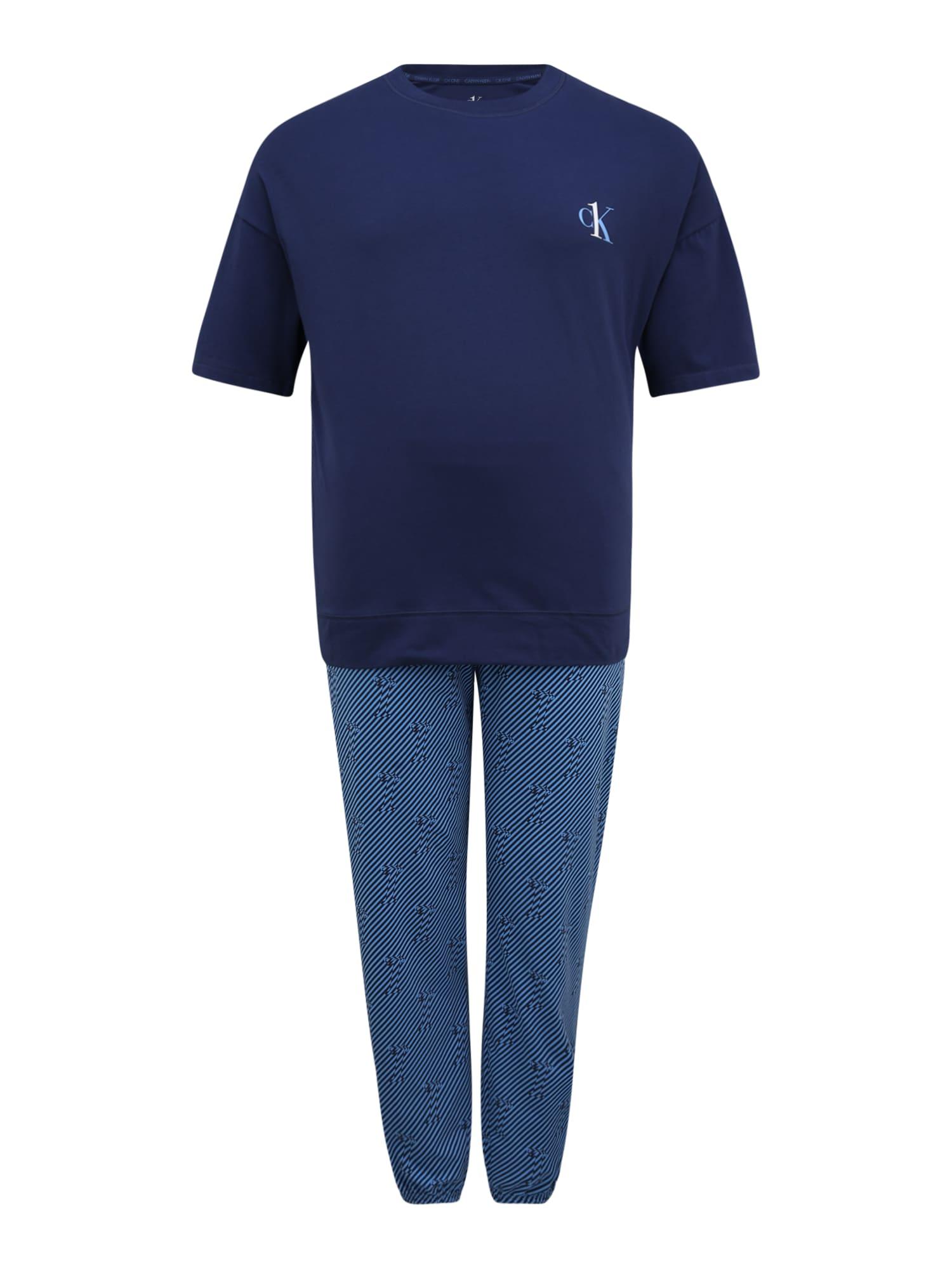 Calvin Klein Underwear Ilga pižama mėlyna dūmų spalva / tamsiai mėlyna