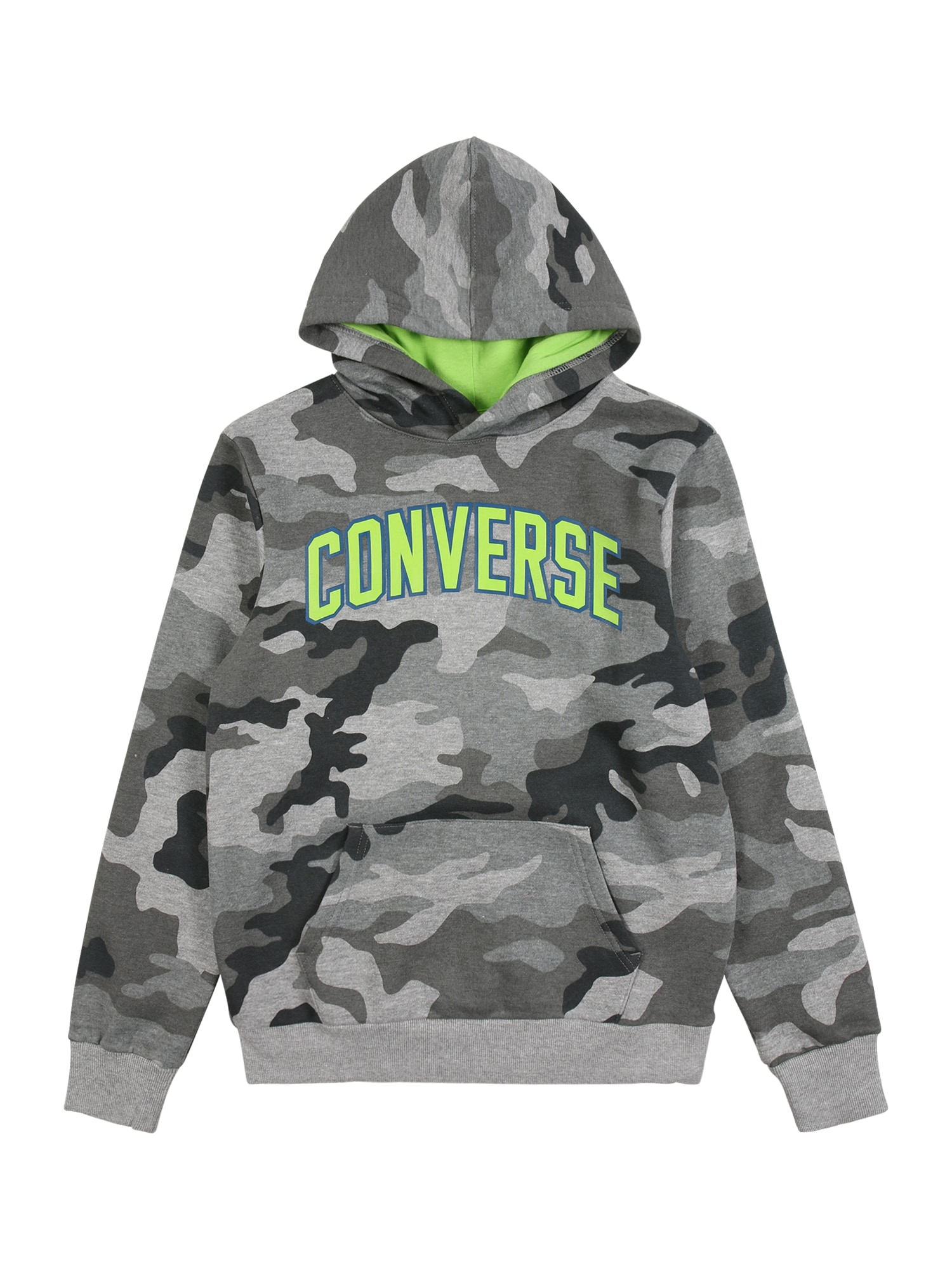 CONVERSE Megztinis be užsegimo tamsiai pilka / neoninė žalia / antracito / margai pilka