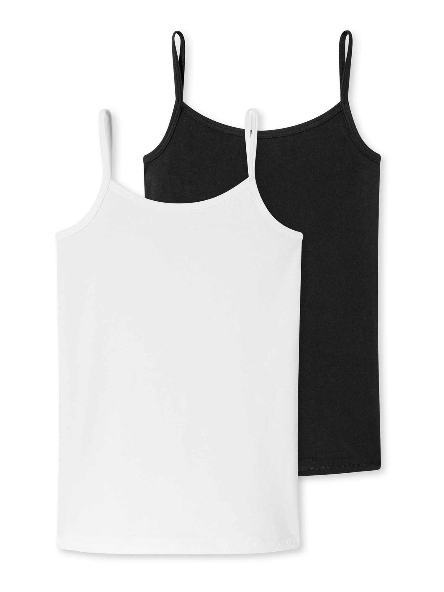 SCHIESSER Apatiniai marškinėliai juoda / balta
