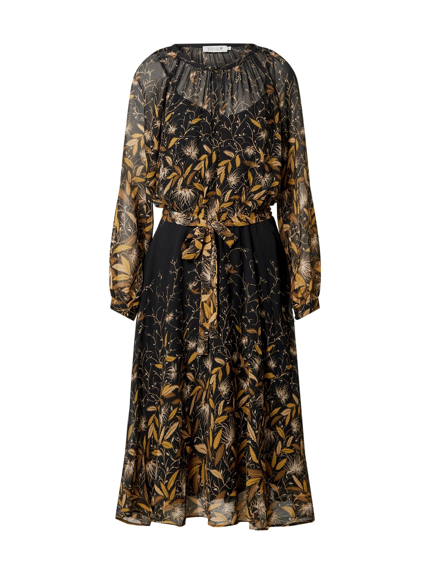 Molly BRACKEN Suknelė juoda / smėlio / aukso geltonumo spalva