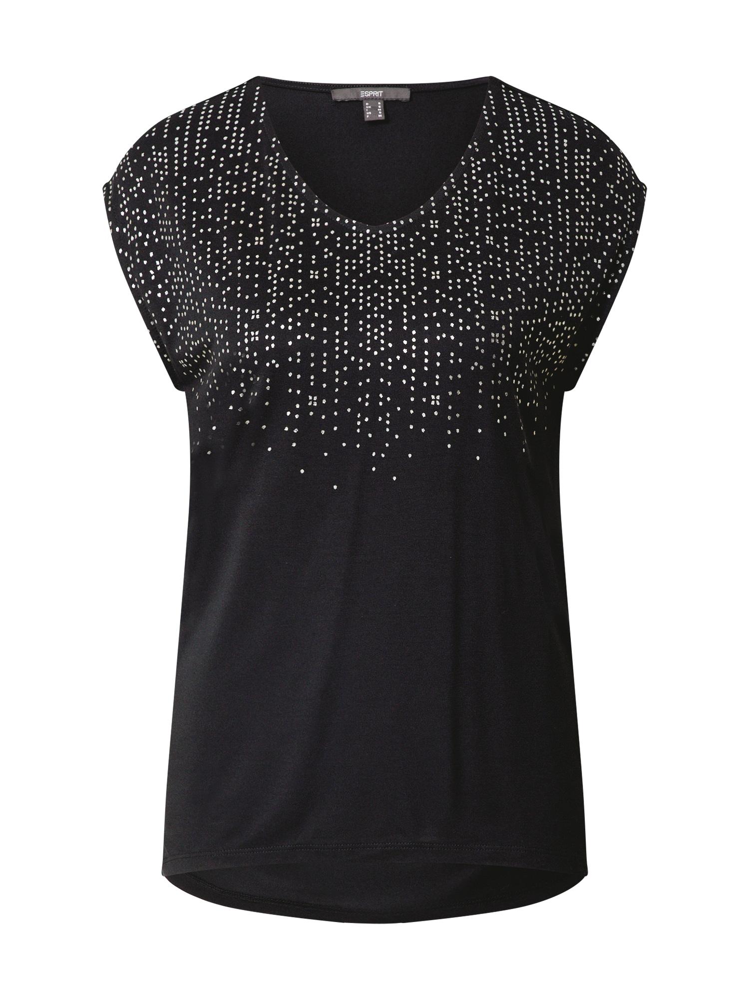 Esprit Collection Marškinėliai juoda / sidabrinė