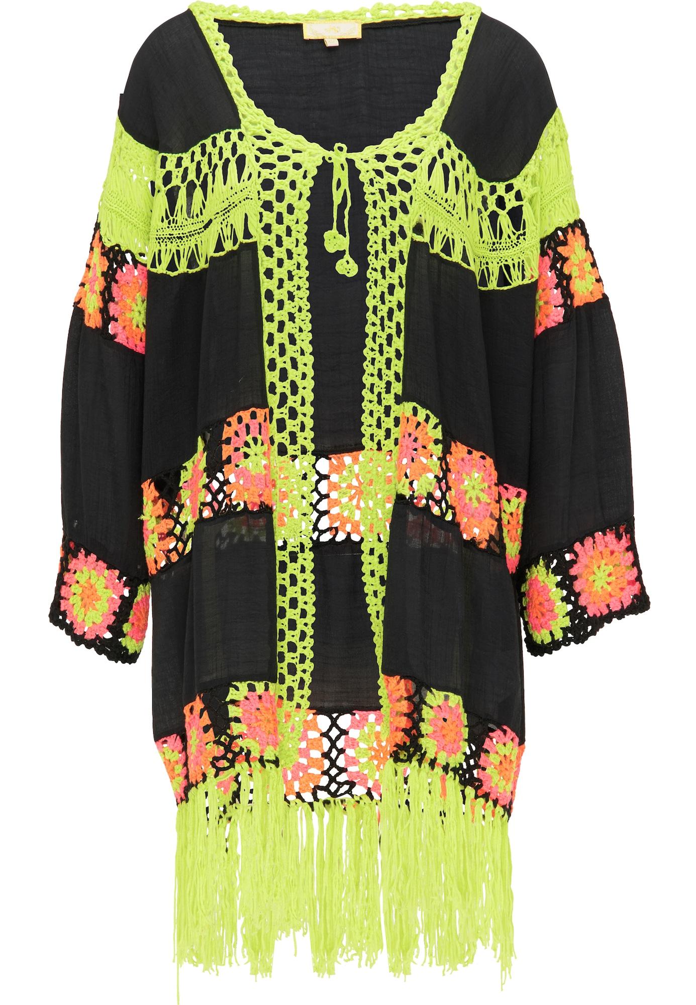 MYMO Kimono juoda / neoninė geltona / rožinė
