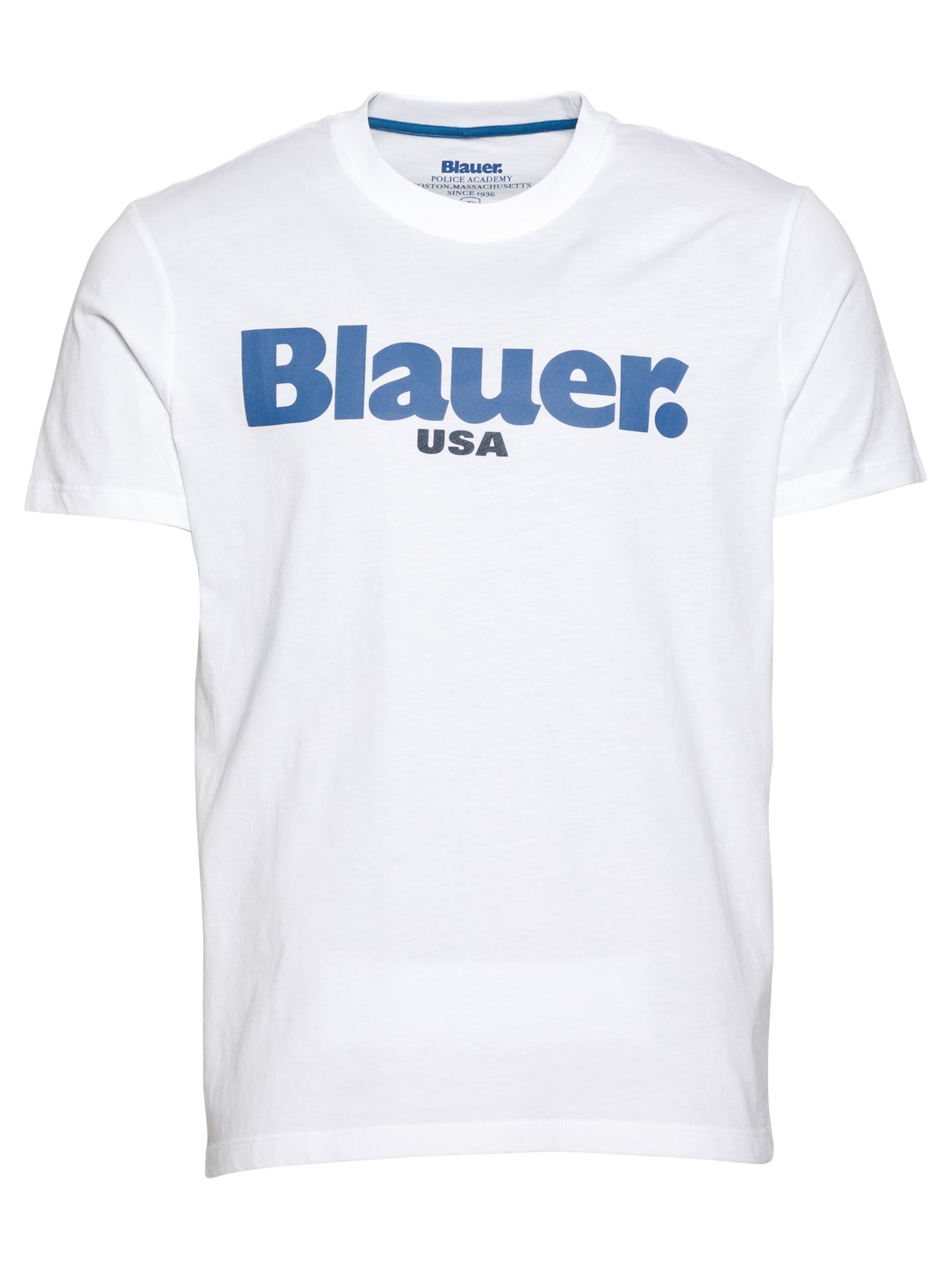 Blauer.USA Marškinėliai 'MANICA CORTA' balta / mėlyna