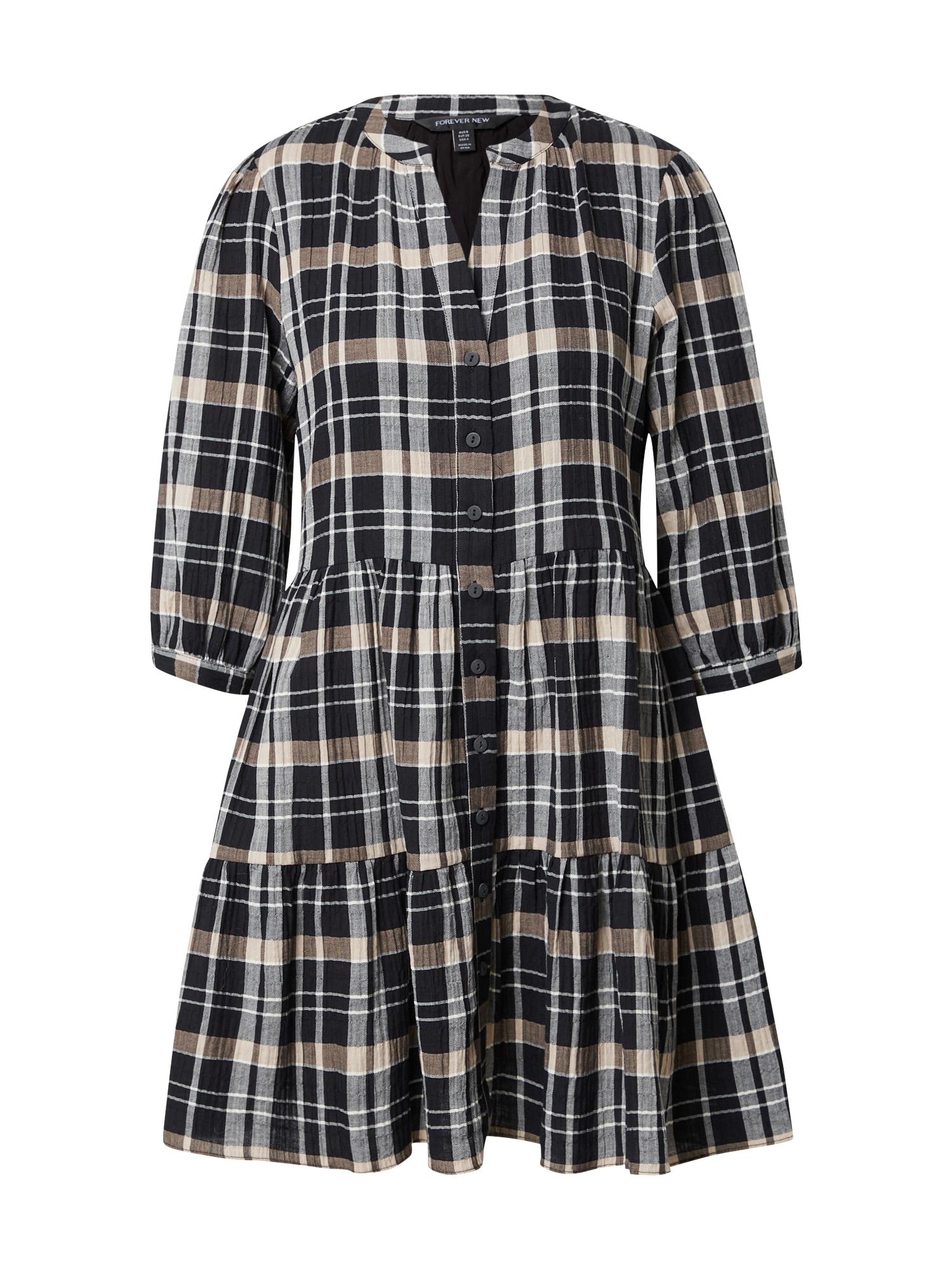Forever New Košilové šaty 'Gina'  černá / béžová / šedobéžová / bílá