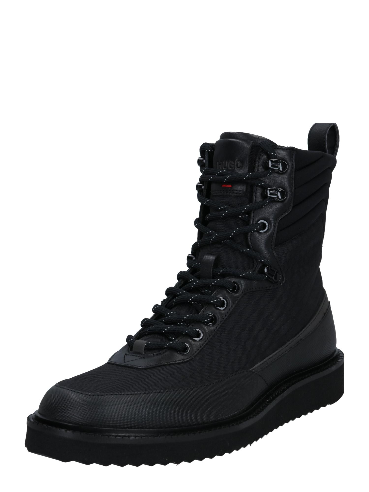 HUGO Šněrovací boty 'District'  černá