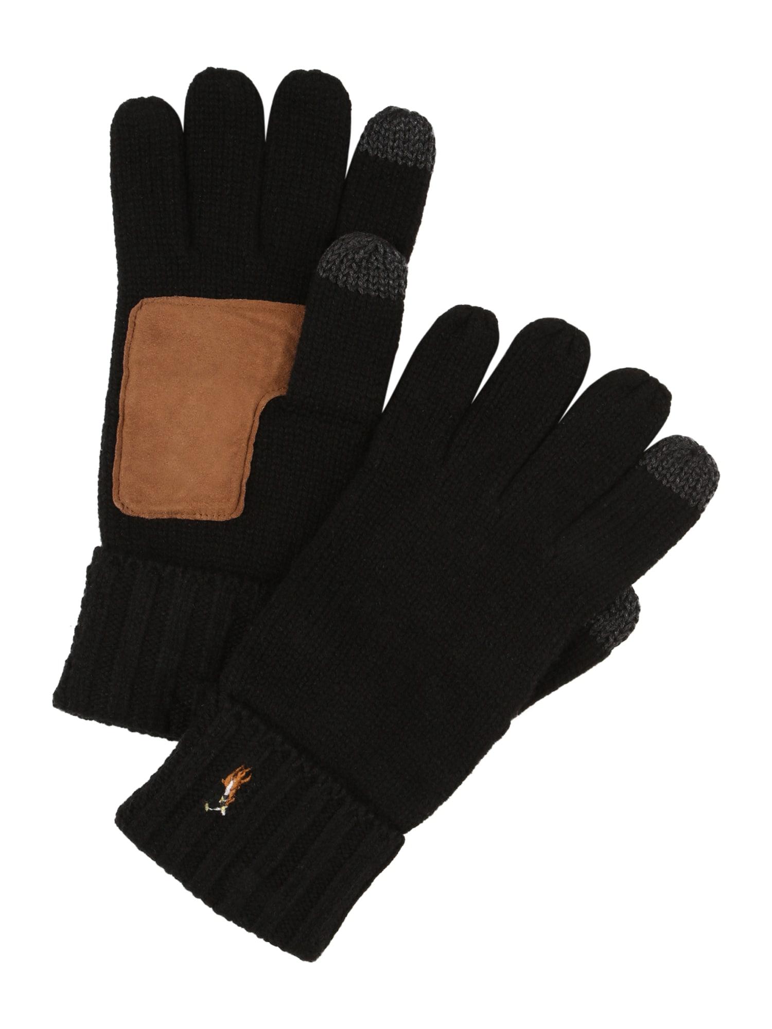 POLO RALPH LAUREN Prstové rukavice 'SIGNATURE'  černá / koňaková / šedá