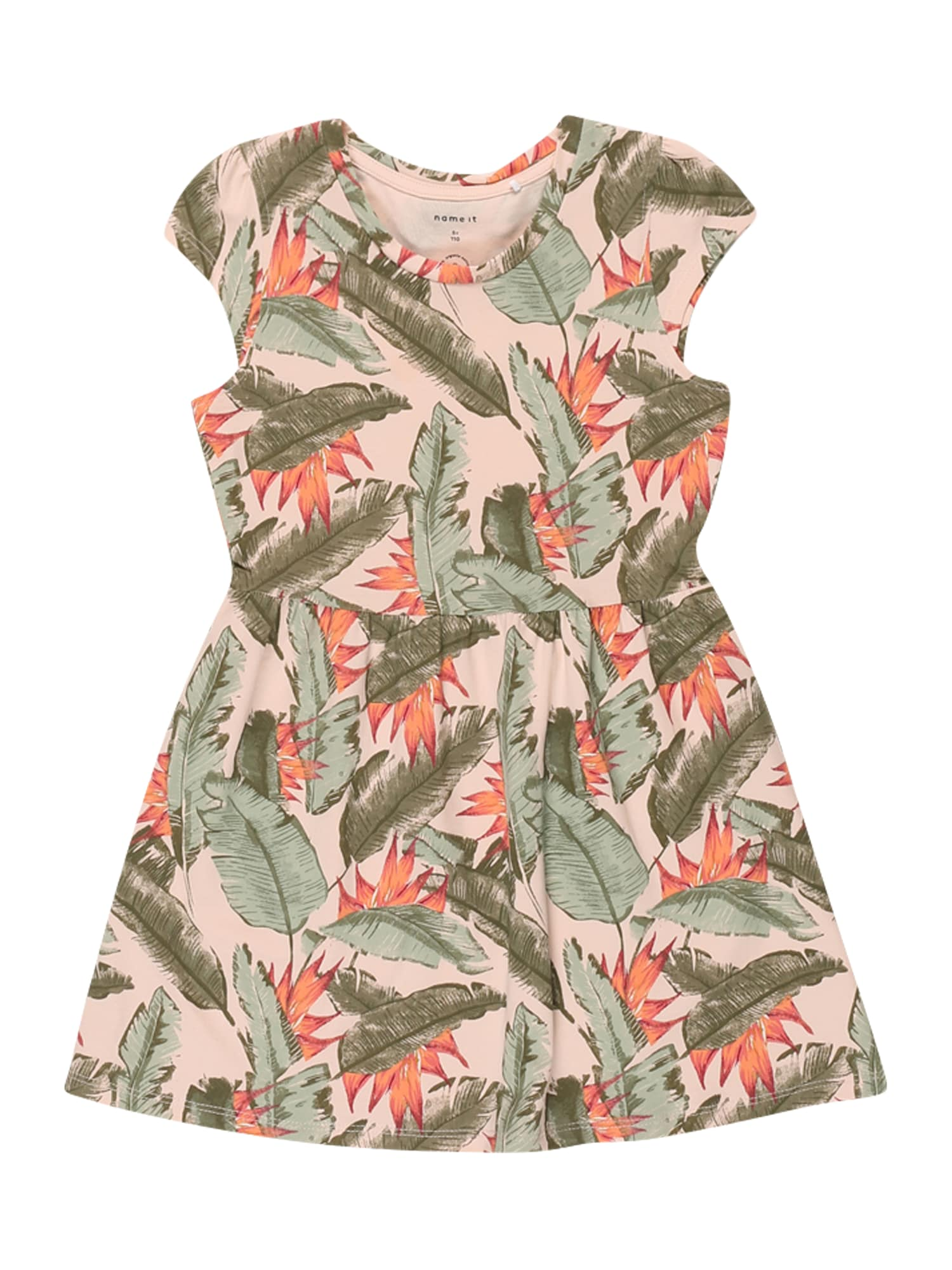 NAME IT Suknelė 'FIBLOOM' rožių spalva / rusvai žalia / oranžinė / raudona