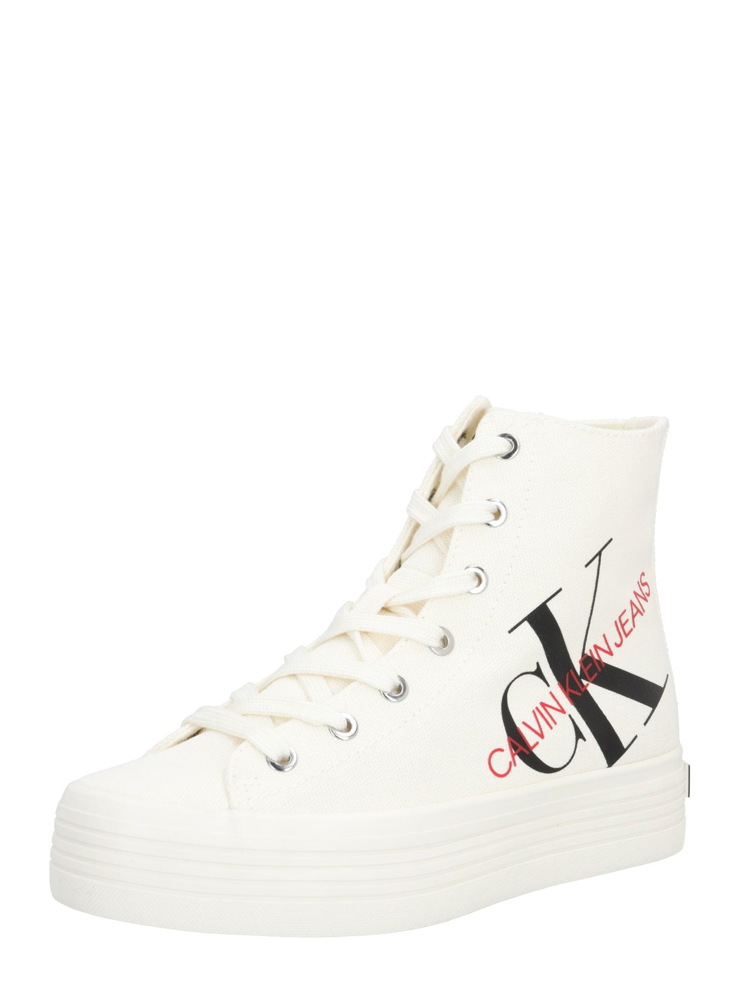 Calvin Klein Jeans Sportbačiai su auliuku 'ZOREDA' balta / juoda / raudona