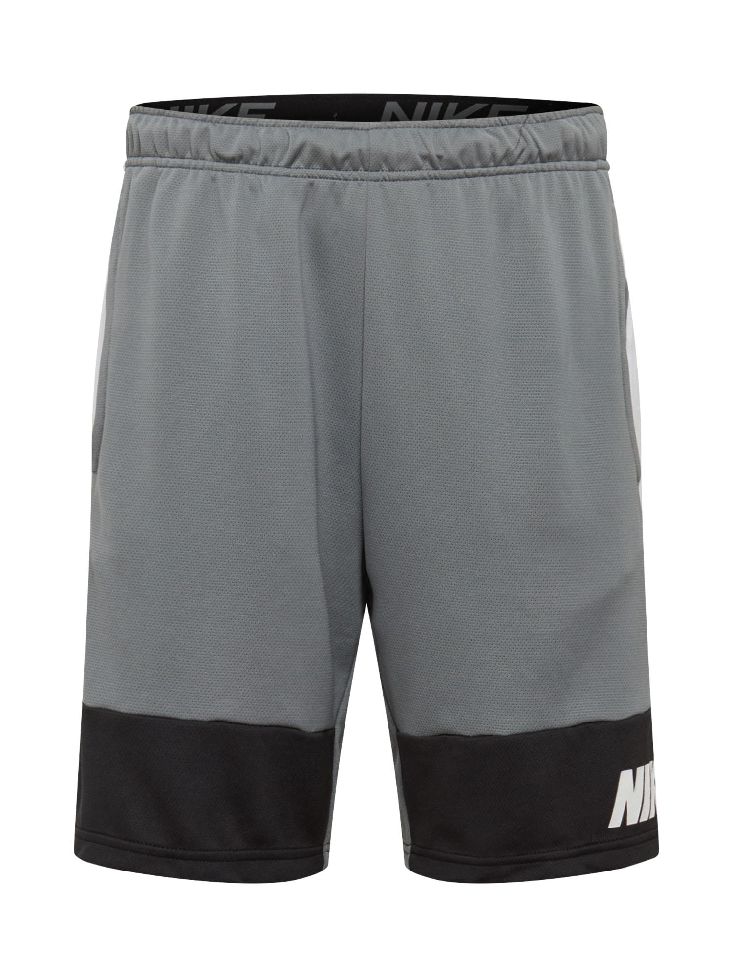NIKE Sportovní kalhoty  bílá / šedá / černá