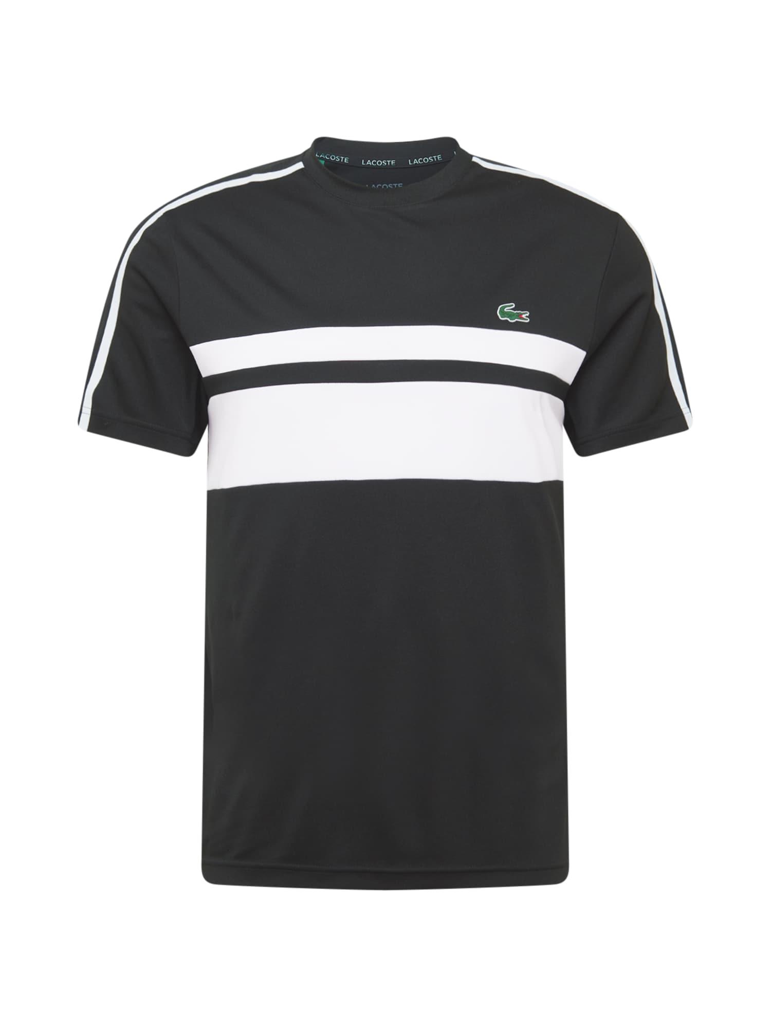 Lacoste Sport Sportiniai marškinėliai balta / juoda