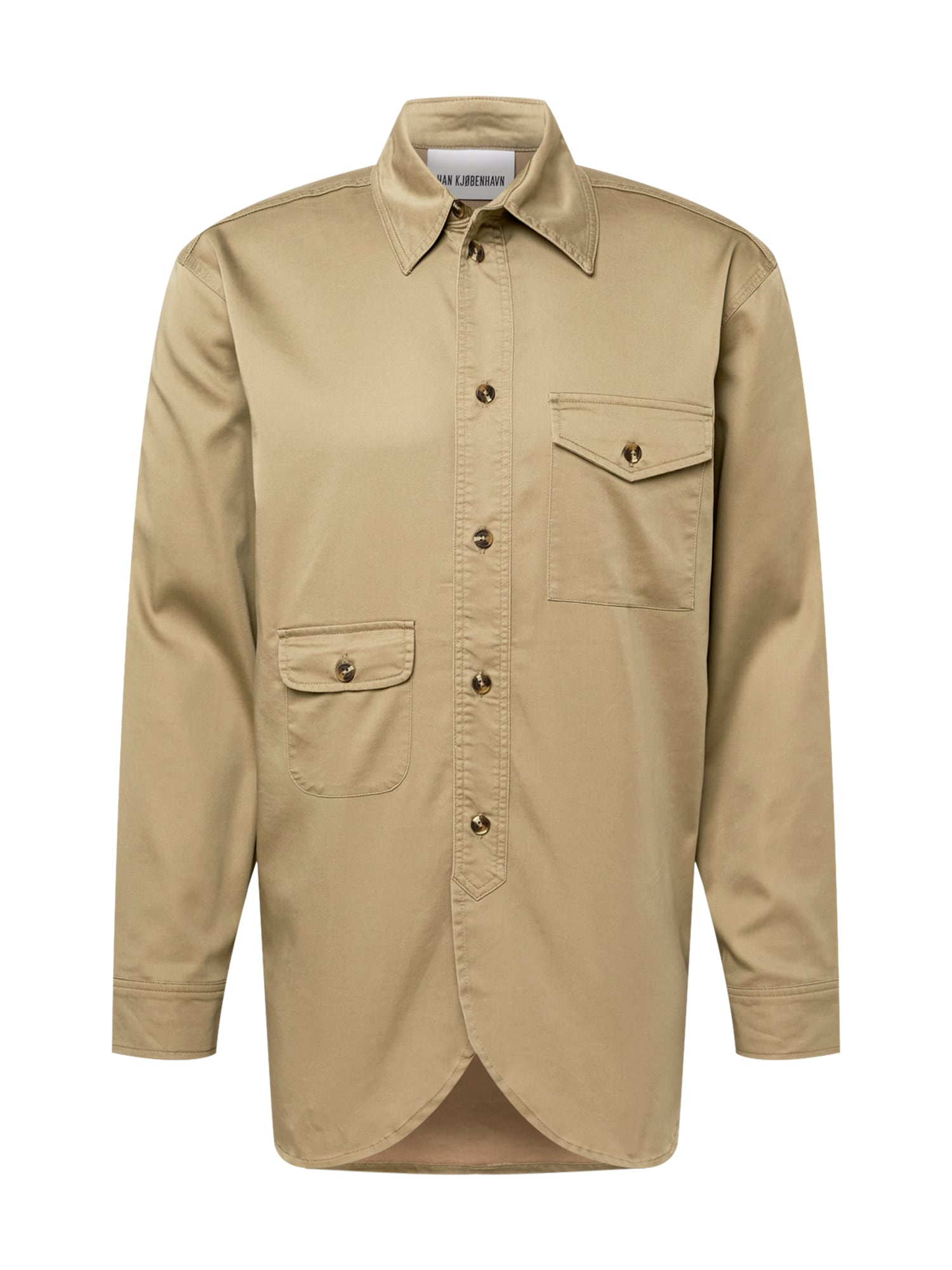 Han Kjøbenhavn Marškiniai nebalintos drobės spalva