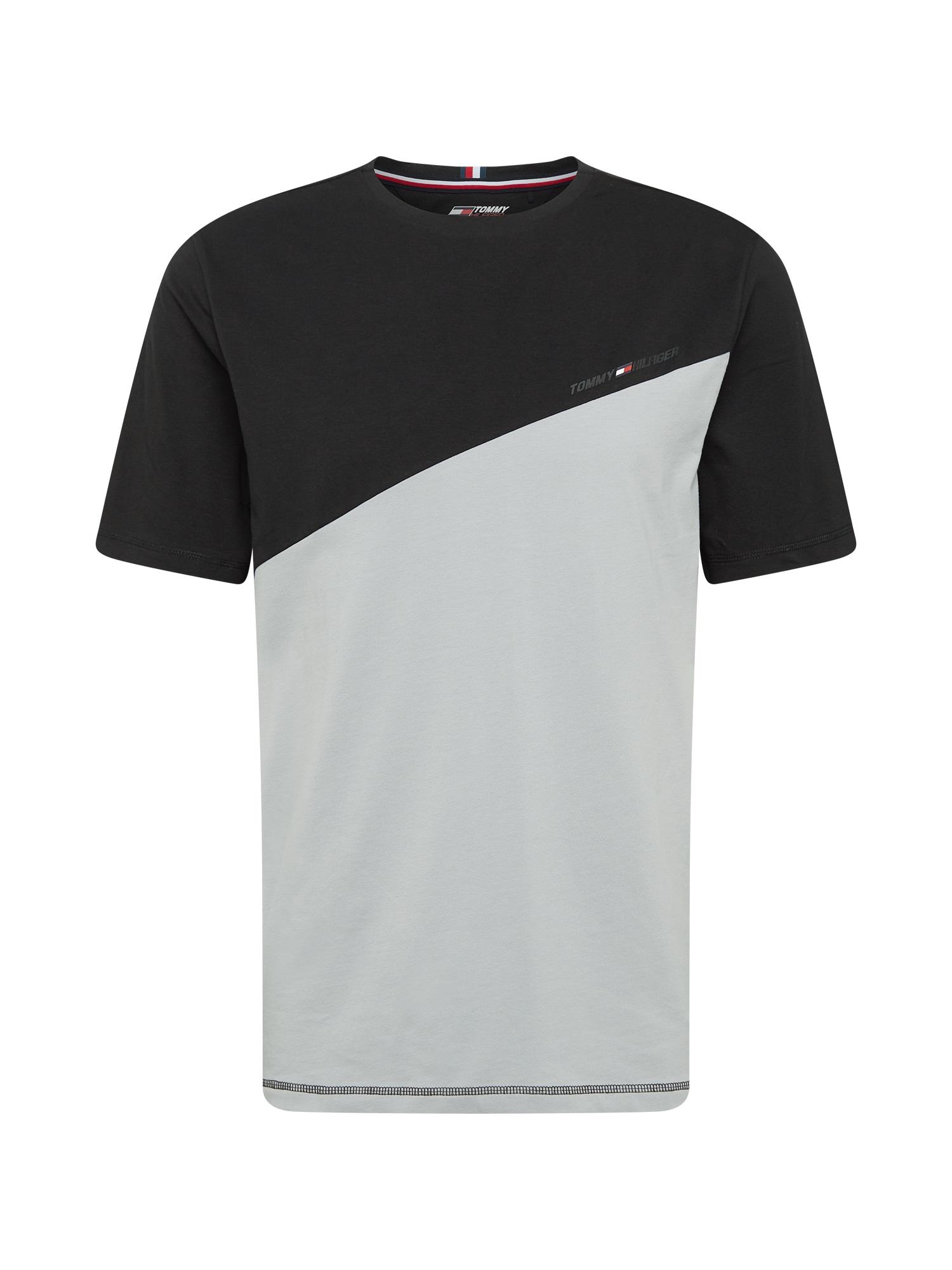 Tommy Sport Sportiniai marškinėliai sidabro pilka / juoda